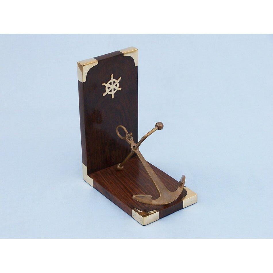 Handcrafted nautical decor anchor 6 antique brass bookends reviews wayfair - Antique brass bookends ...