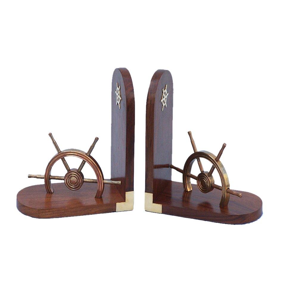 Handcrafted nautical decor ship 8 antique brass wheel bookends - Antique brass bookends ...