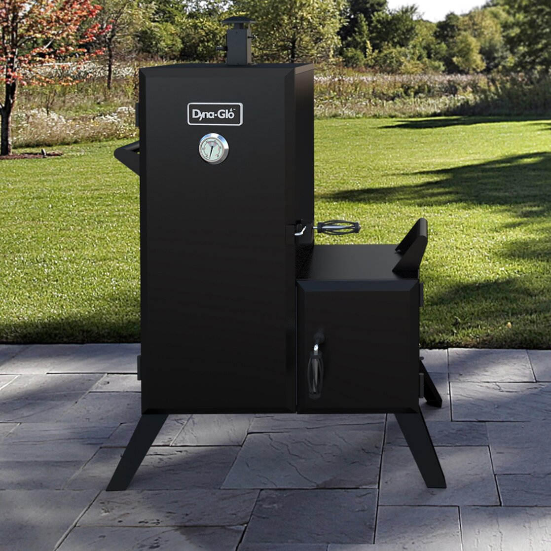 dyna glo double door vertical charcoal smoker with adjustable cook grate reviews wayfair. Black Bedroom Furniture Sets. Home Design Ideas