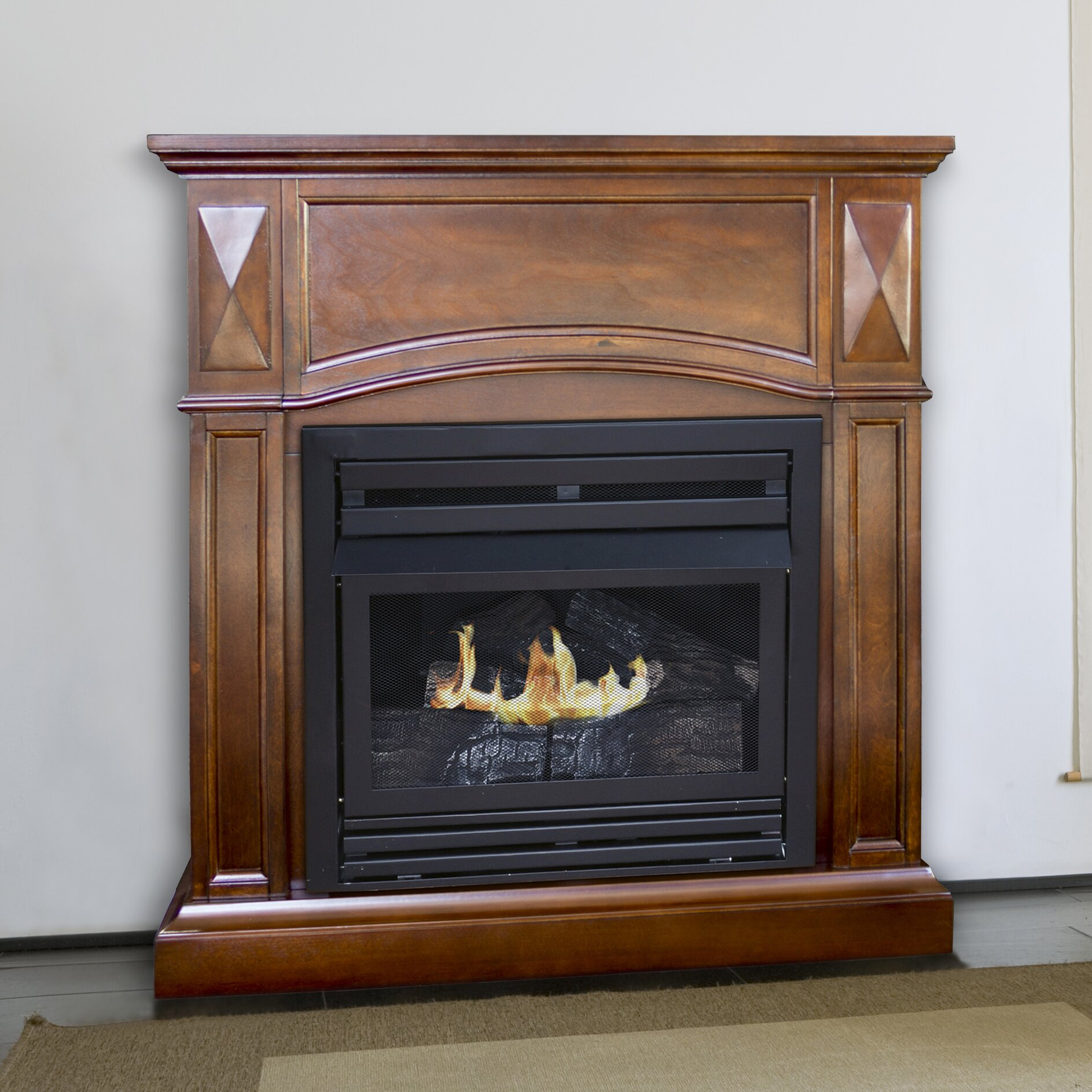 pleasant hearth dual fuel vent free wall mount natural gas fireplace