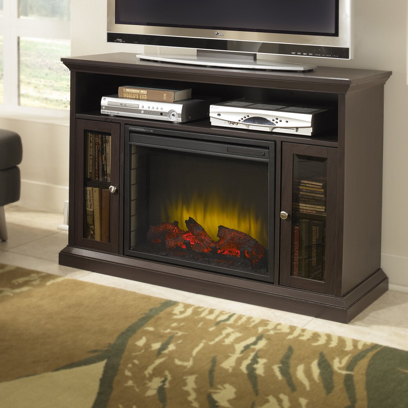 Pleasant Hearth Riley Media Cabinet Electric Fireplace Reviews Wayfair
