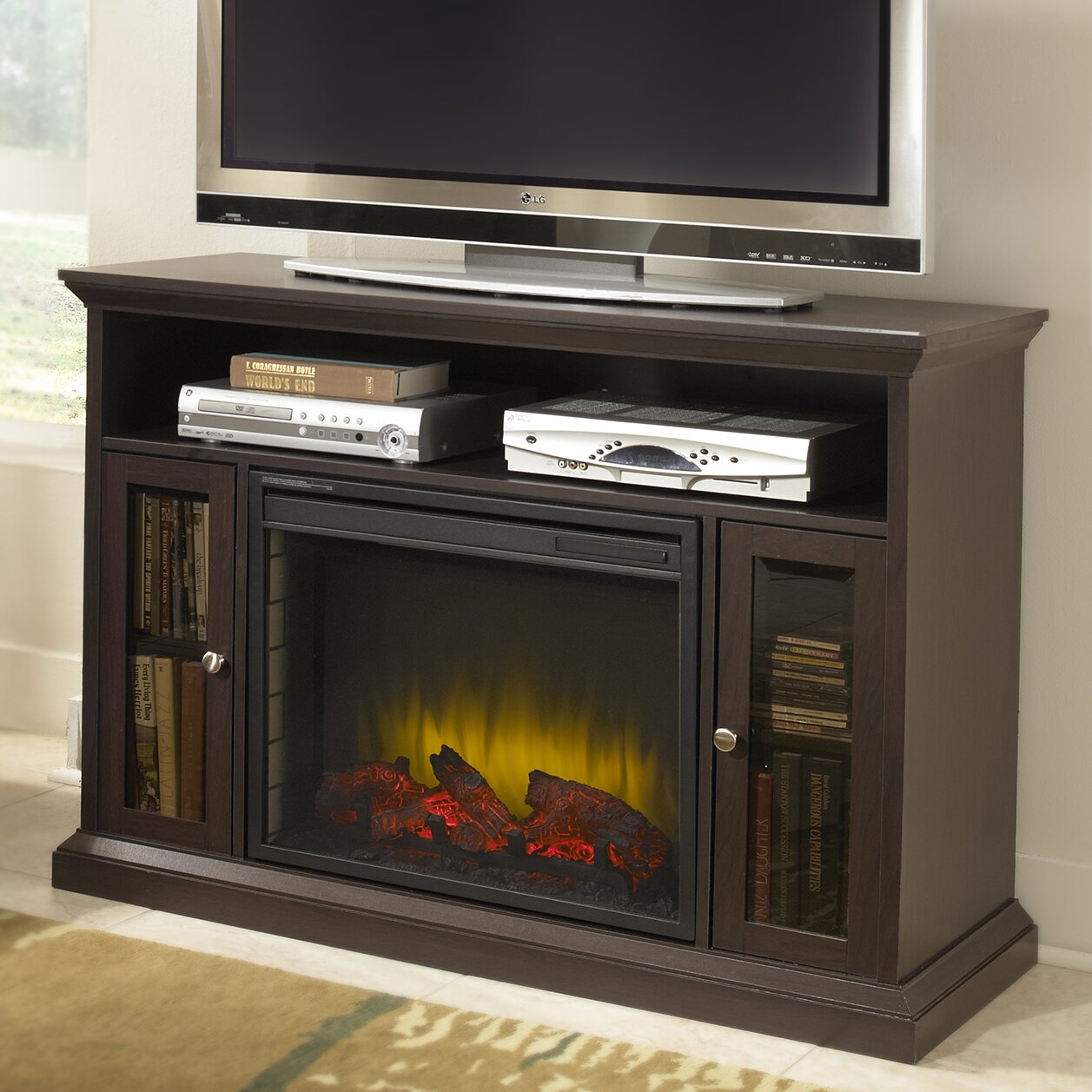 Fireplace Cabinets: Pleasant Hearth Riley Media Cabinet Electric Fireplace