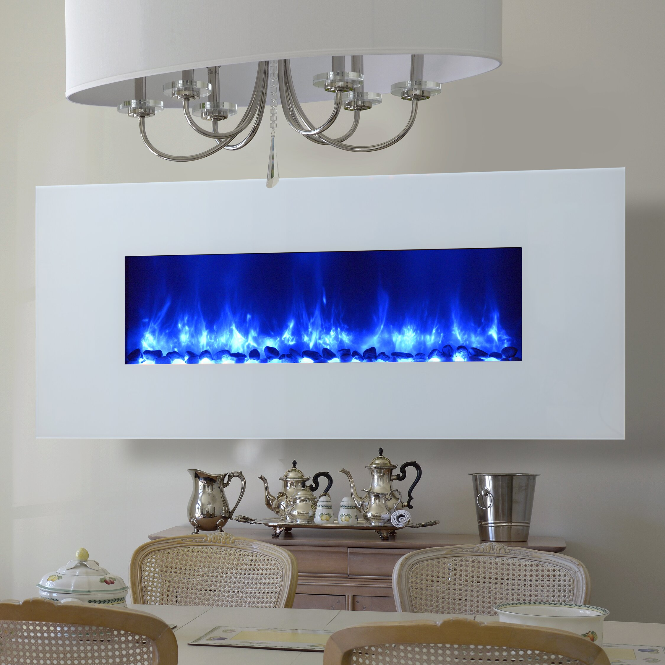Wall Mount Fireplace In Living Room