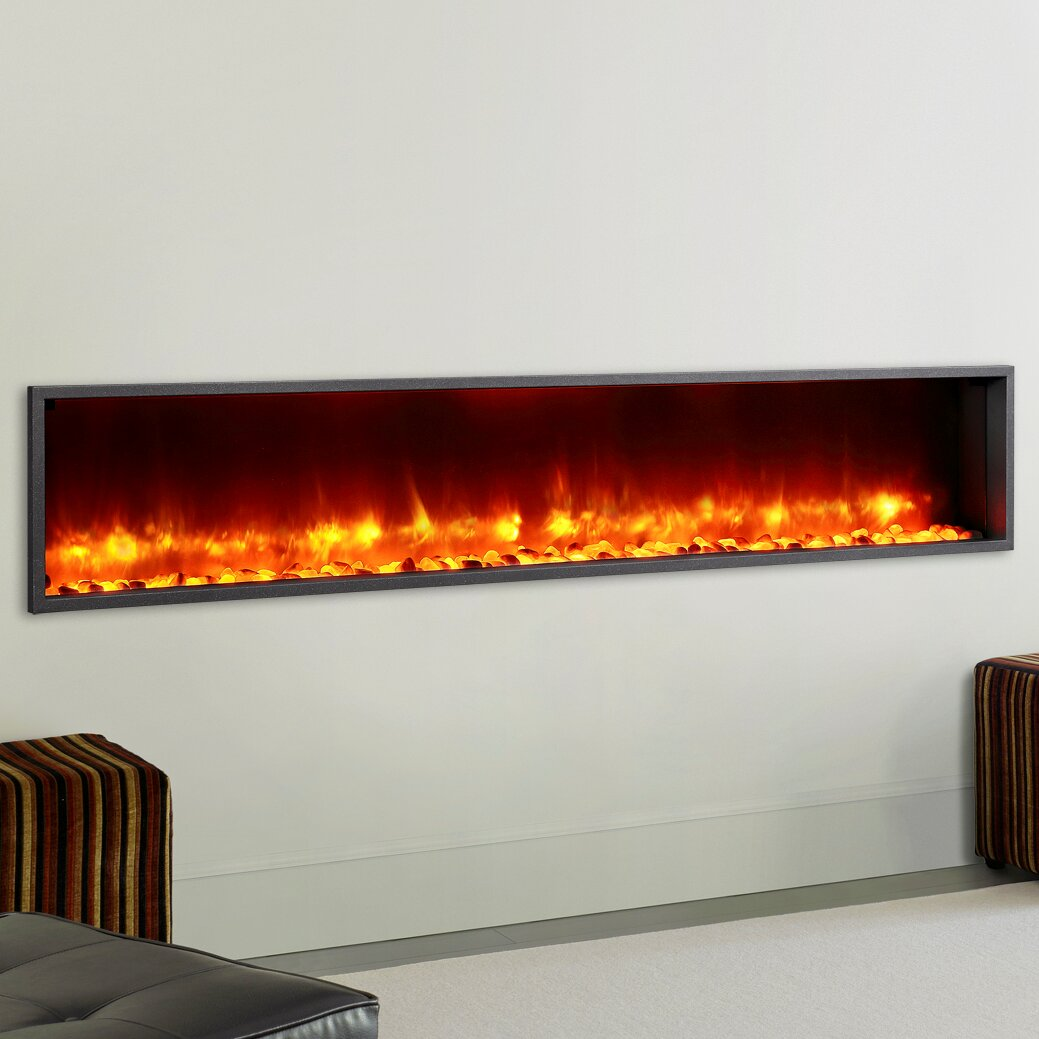 "Dynasty 79"" Built in LED Wall Mount Electric Fireplace"