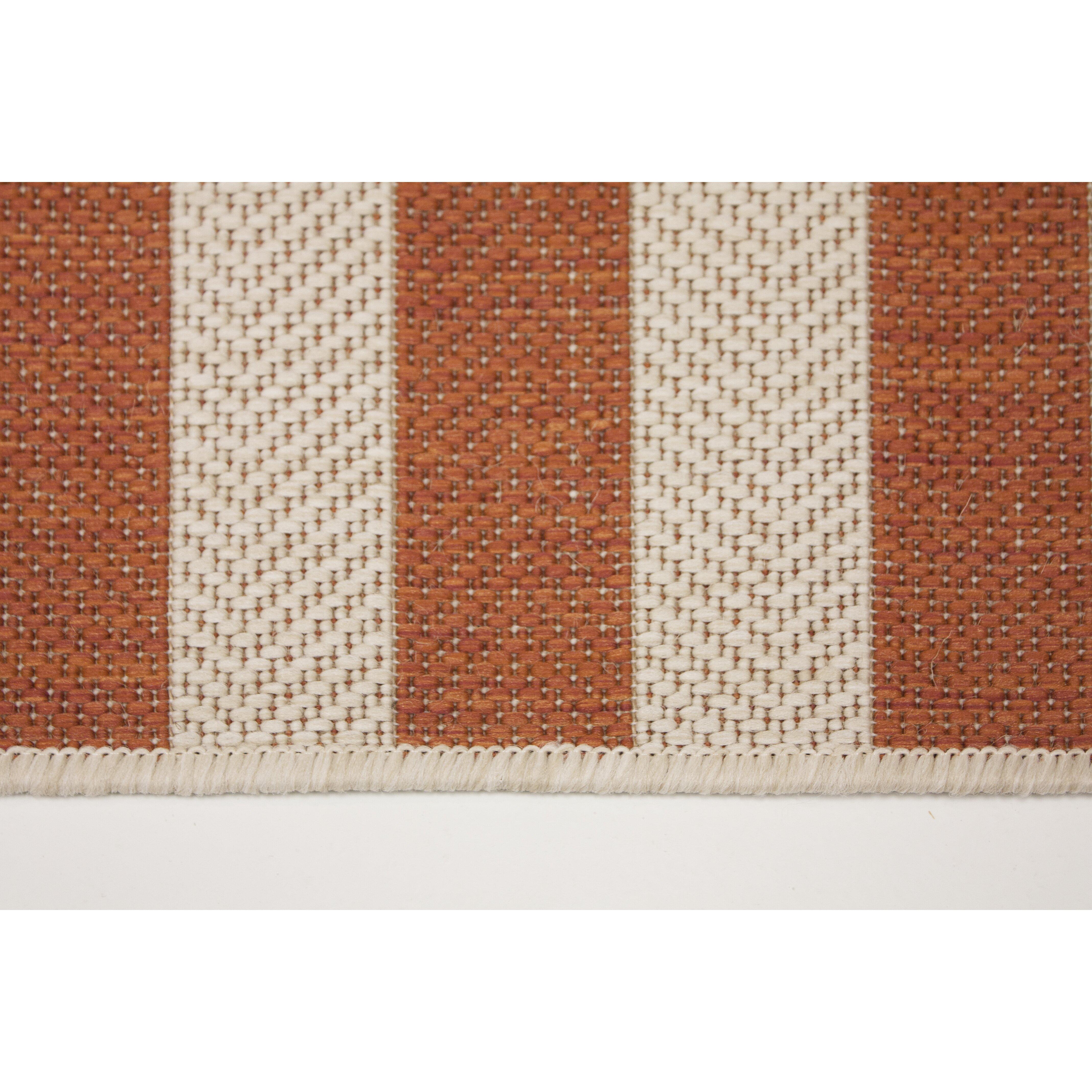 Kalora Coast Stripes Flatweave Cream Orange Indoor Outdoor