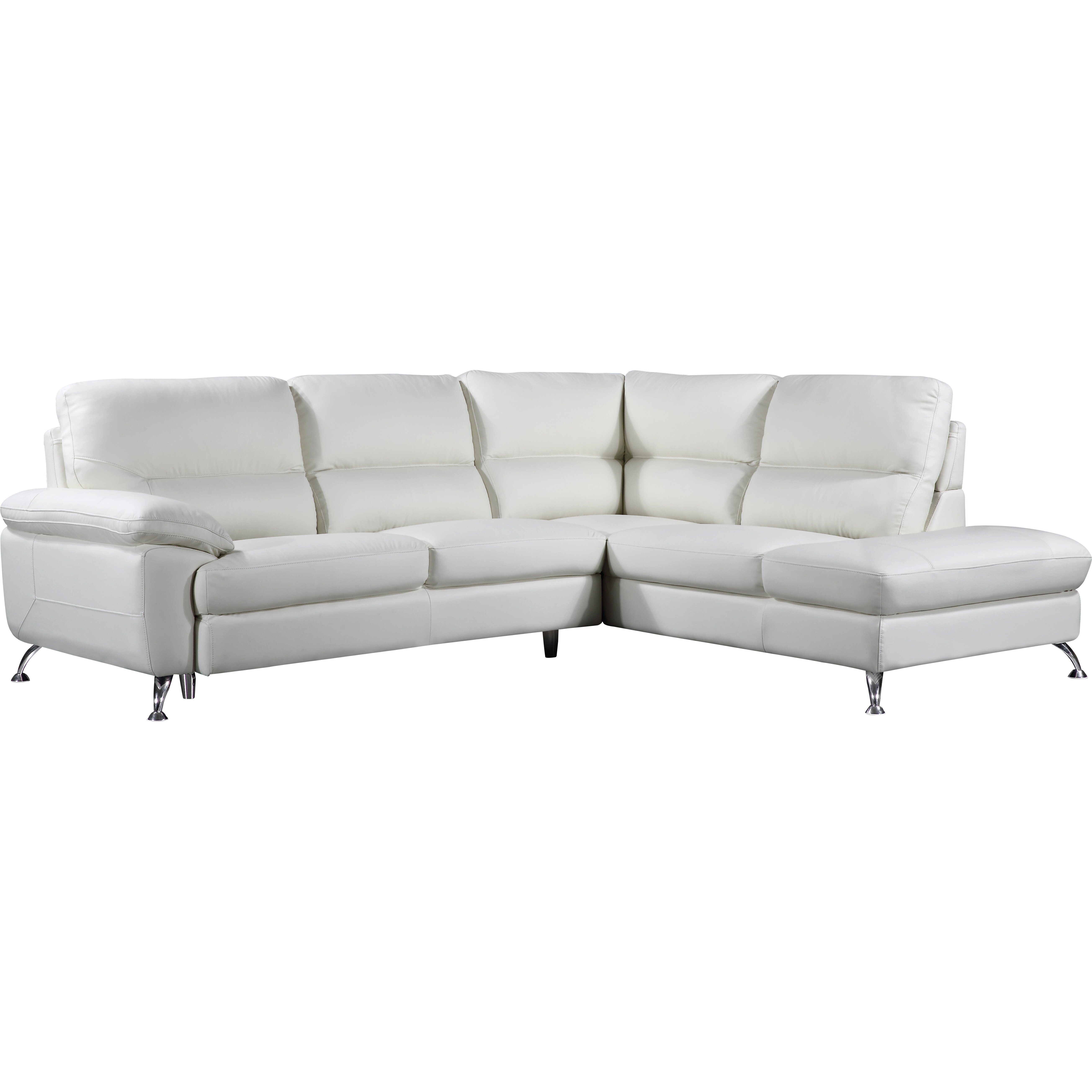 Cortesi home miami sectional wayfair for Genuine leather sectional sofa with chaise