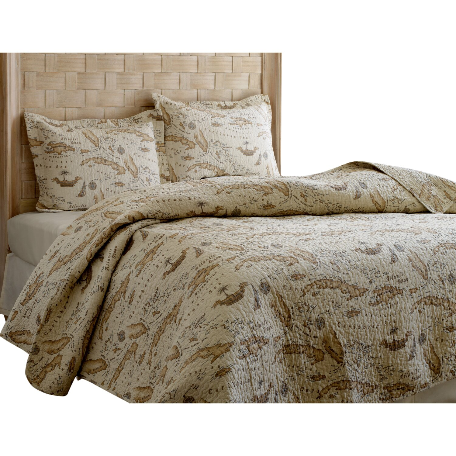 Tommy Bahama Bedding Map 3 Piece Reversible Quilt Set