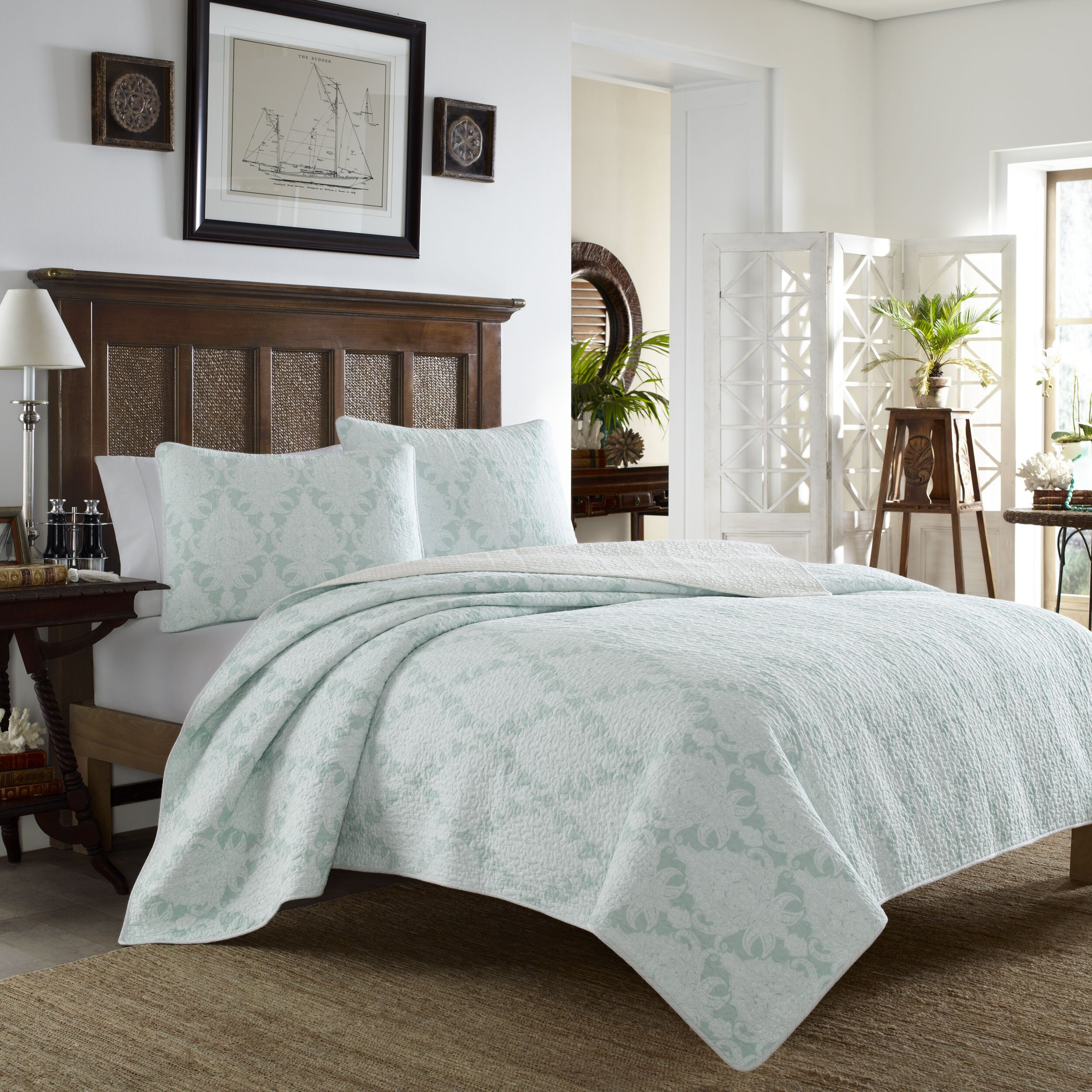 Tommy Bahama Bedding Cape Plumbago Reversible Quilt Set