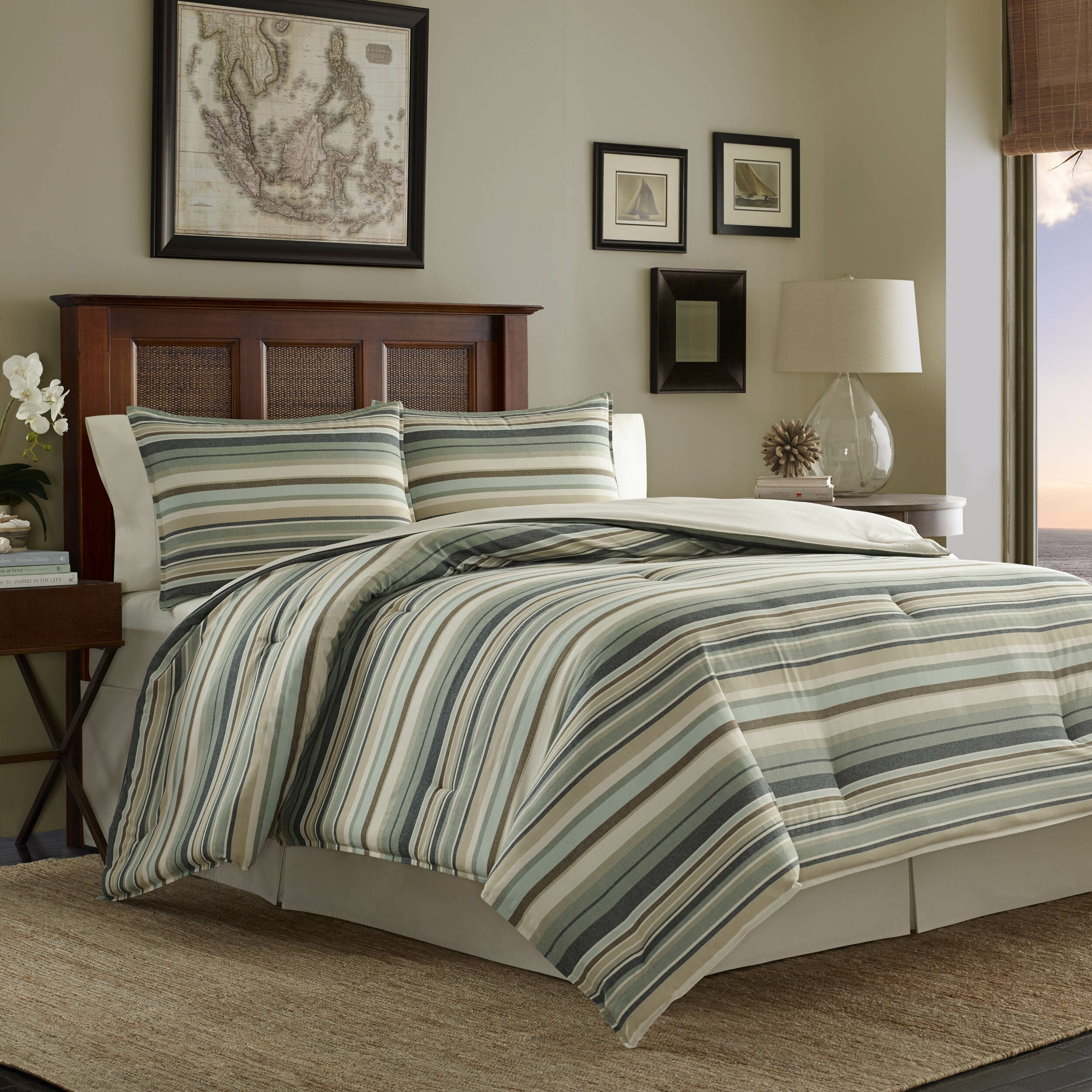 Tommy bahama bedding canvas stripe 3 piece duvet cover set Tommy bahama bedding