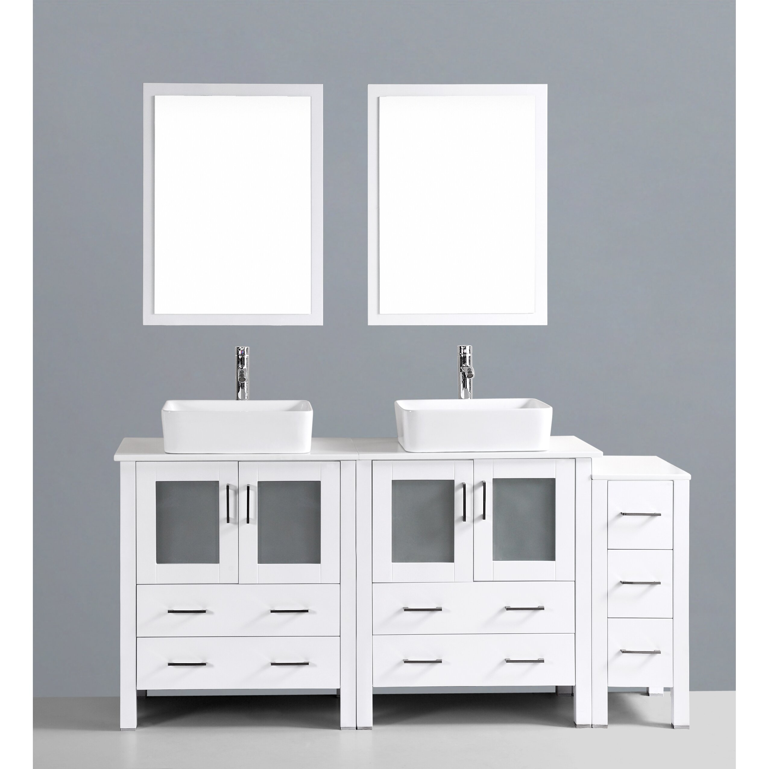 Bosconi contemporary 72 double bathroom vanity set with for Modern bathroom vanity mirror