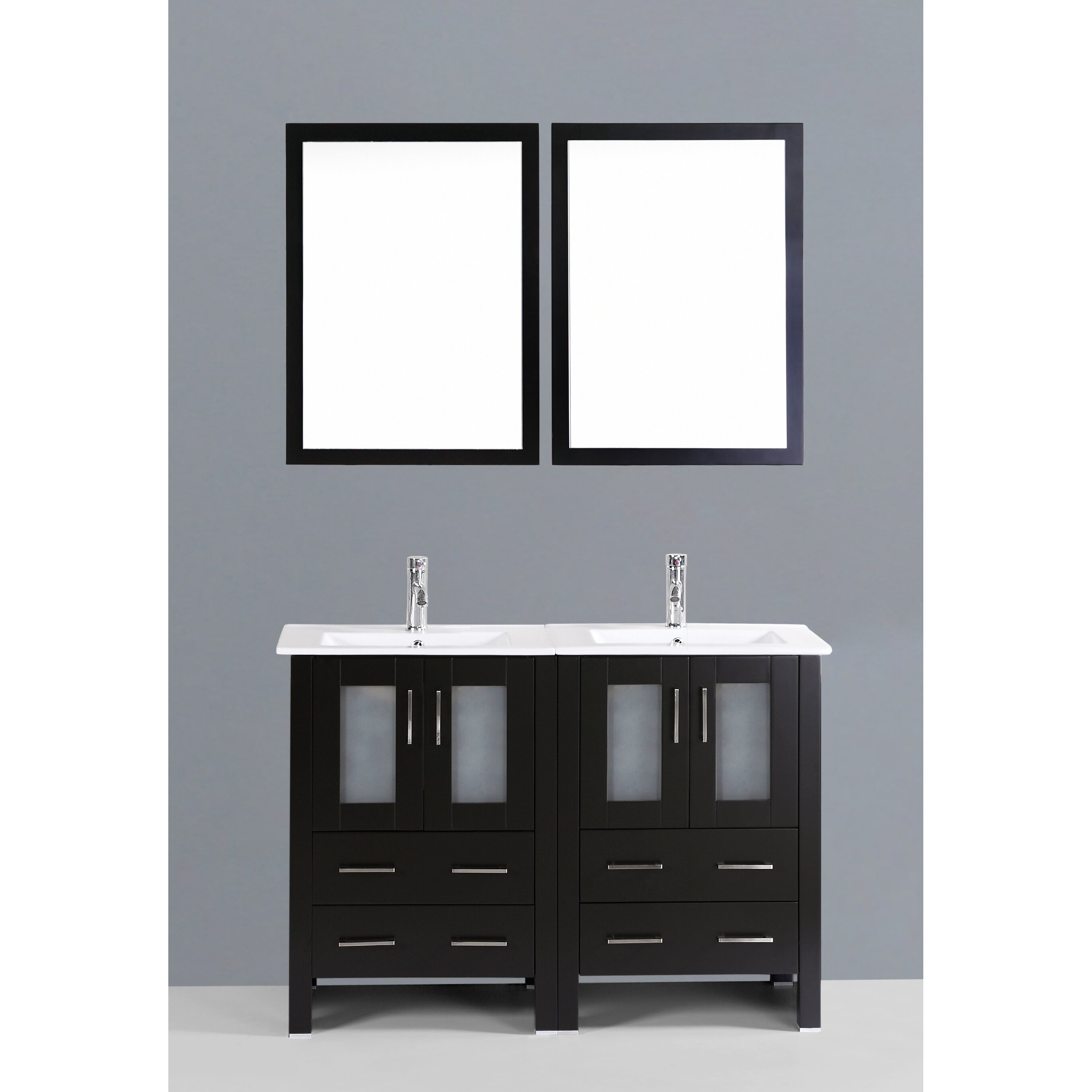 Bosconi Contemporary 48 Double Bathroom Vanity Set With