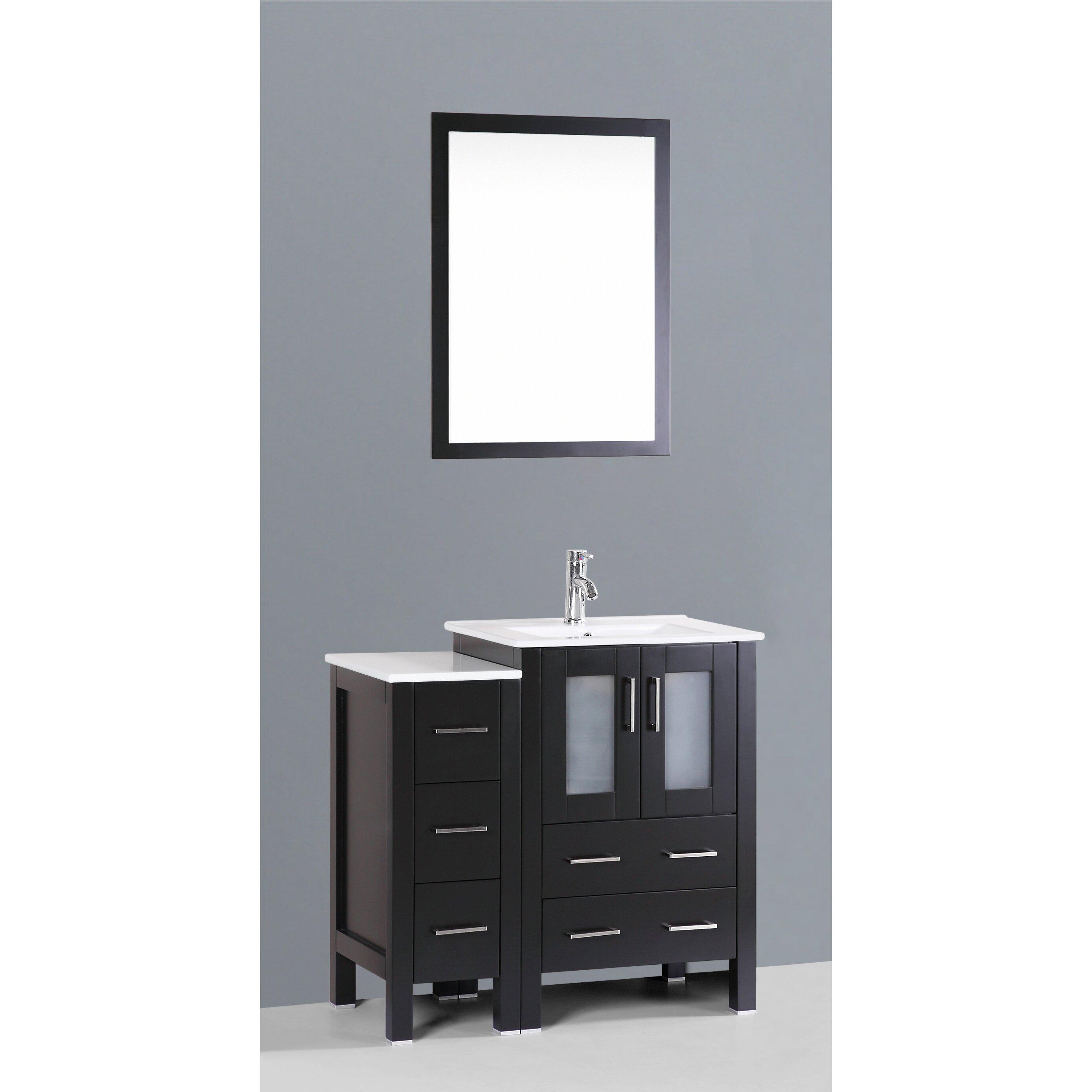 Bosconi contemporary 36 single bathroom vanity set with for Bathroom mirror set