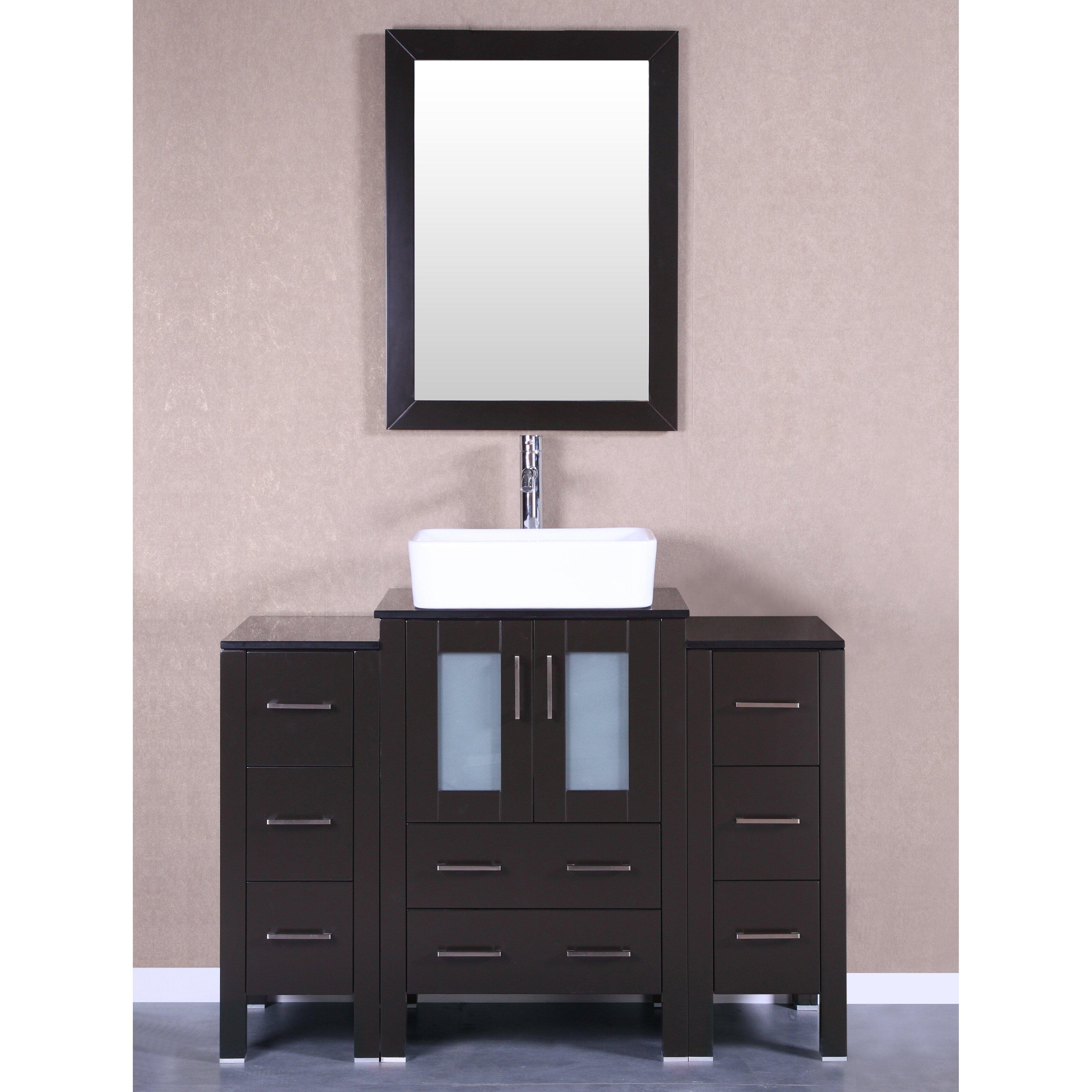 Bosconi 48 single vanity set with mirror wayfair for Vanity set with mirror