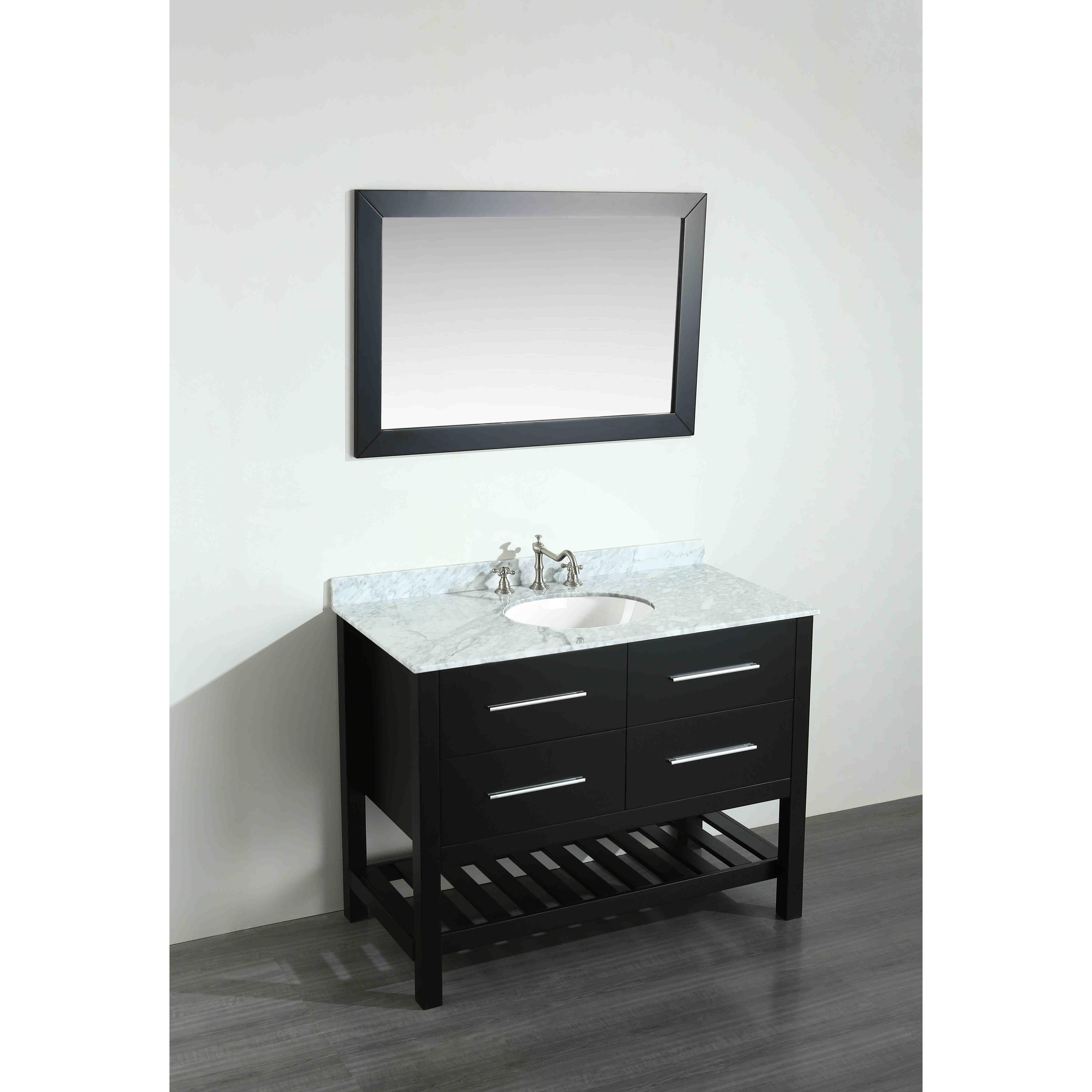 Bosconi 43 3 single bathroom vanity set with mirror for Bathroom 3 way mirror