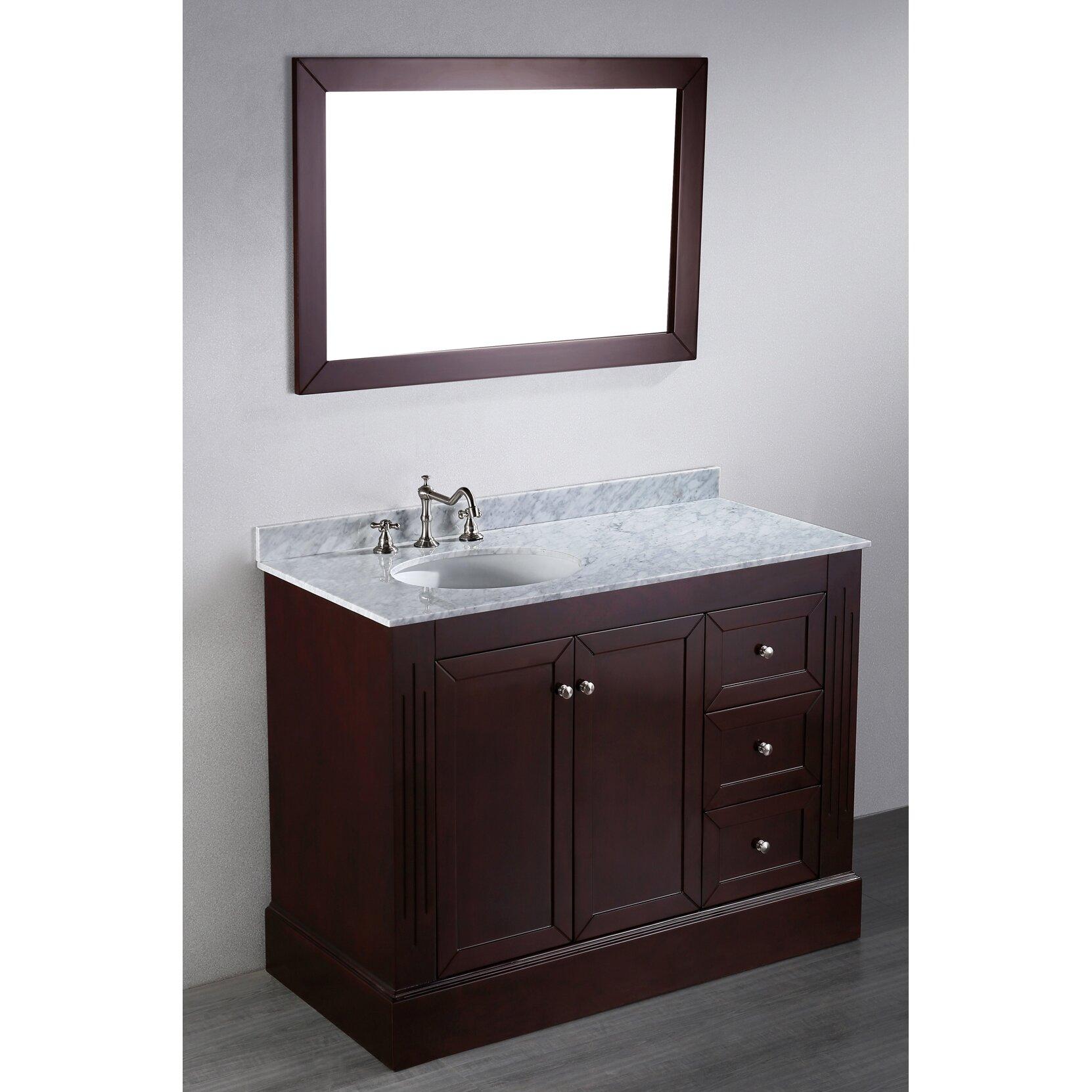 Bosconi contemporary 45 single bathroom vanity set with for Bathroom mirror set