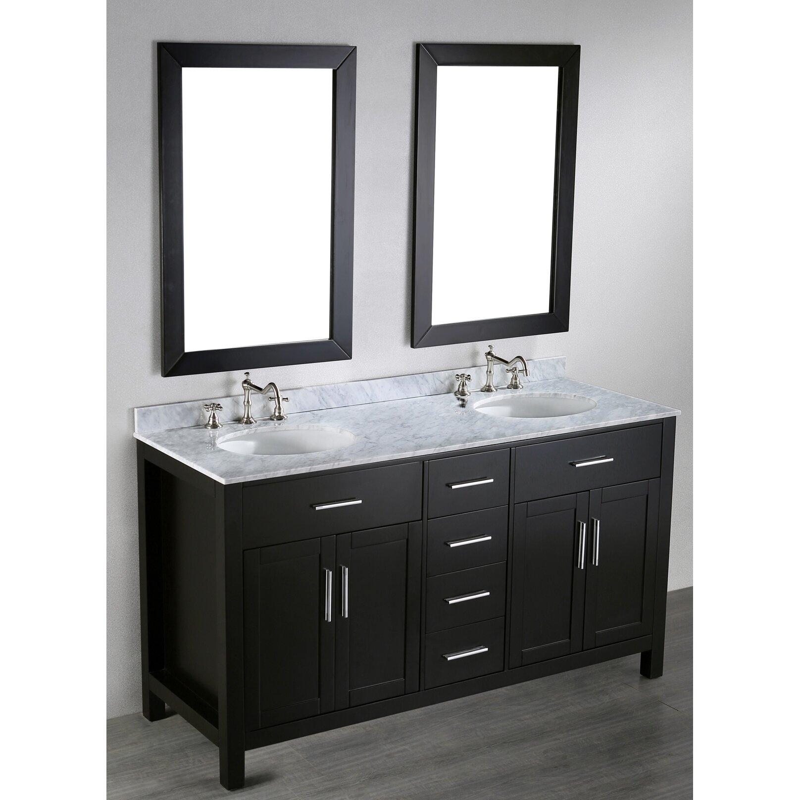 Bosconi Contemporary 60 Double Bathroom Vanity Set With Mirror Reviews Wayfair
