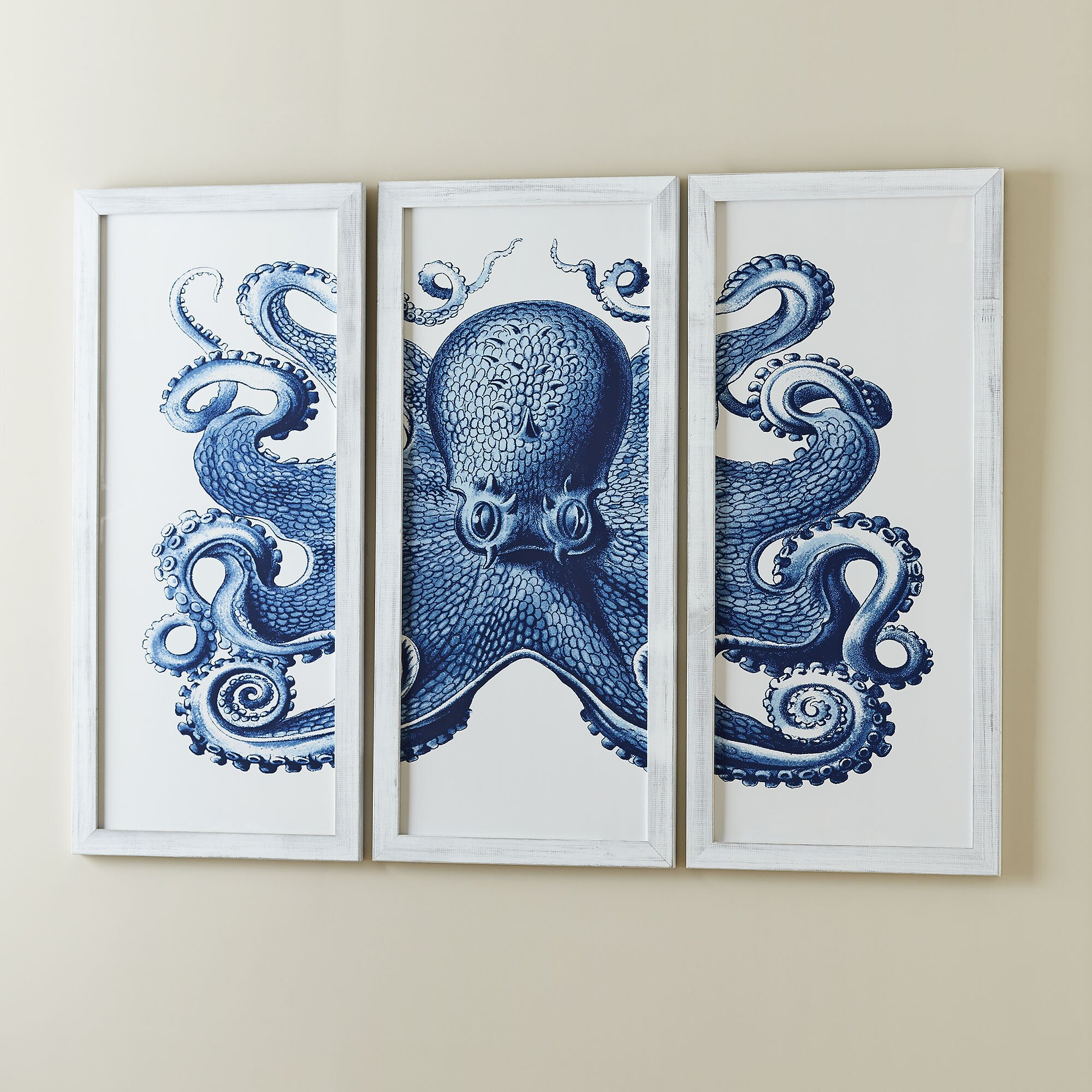 Birch lane blue octopus tryptic wall art reviews wayfair for Blue bathroom wall decor