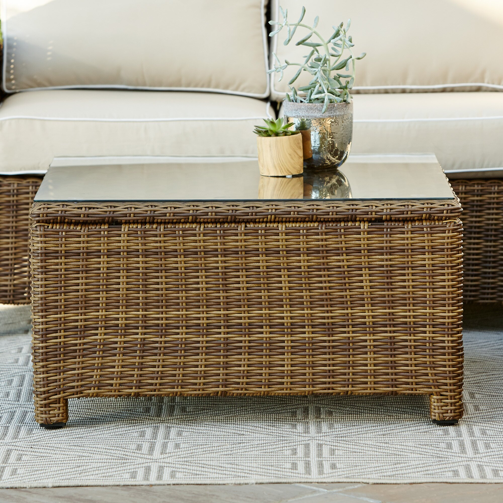 Birch Lane Lawson Wicker Square Coffee Table Reviews Wayfair