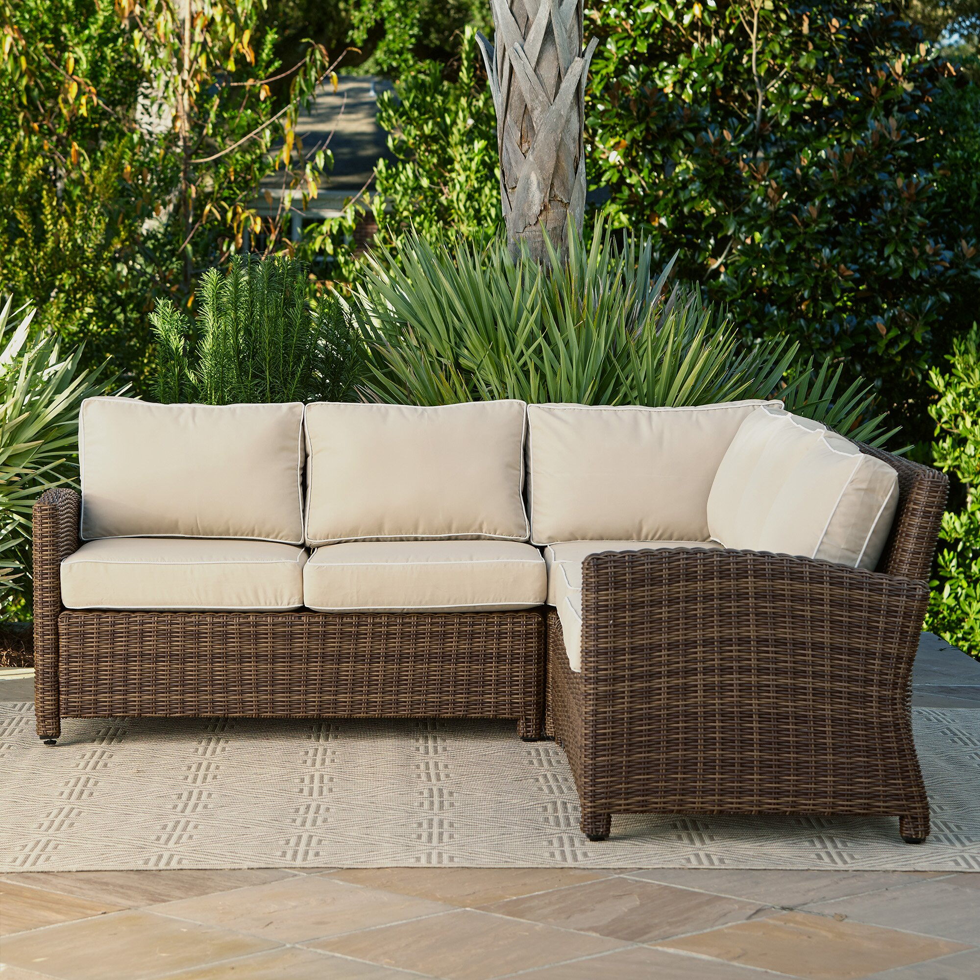 Outdoor Sectional Sofa Images: Birch Lane Lawson Wicker Sectional With Cushions & Reviews