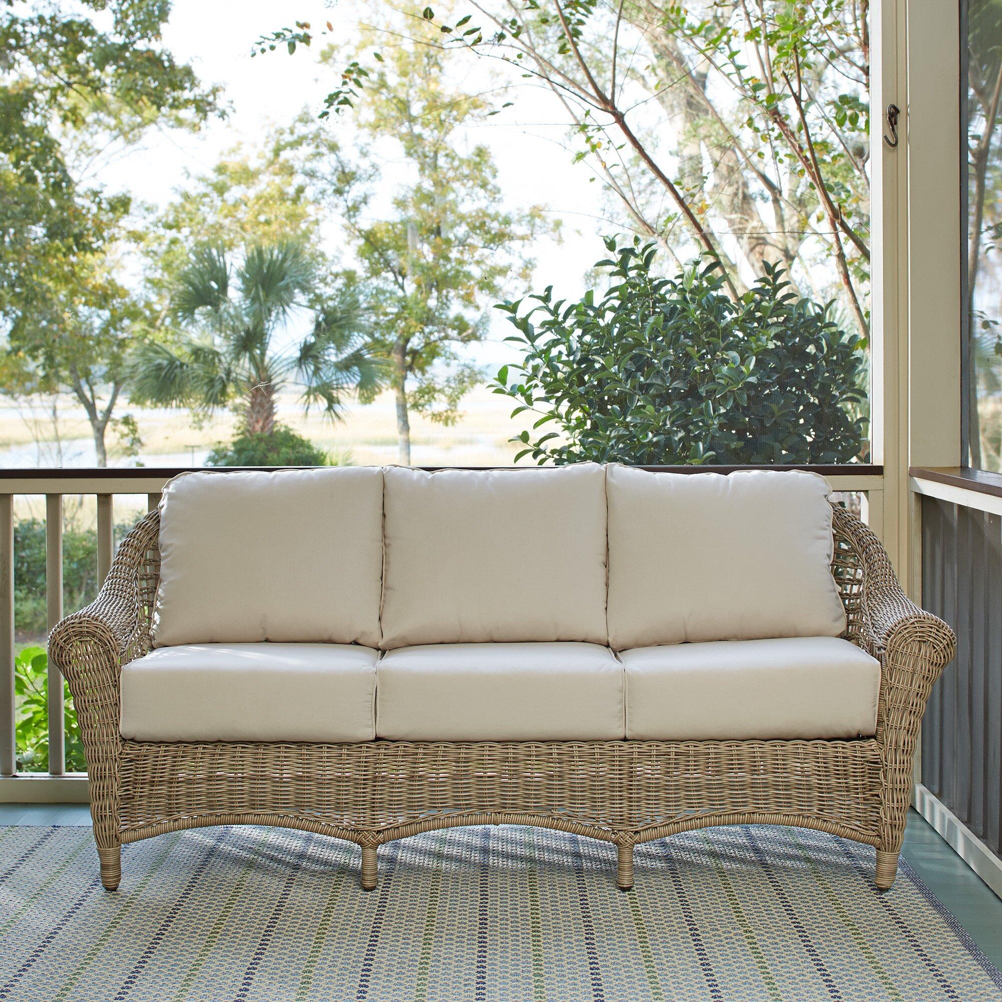 Birch Lane Lynwood Wicker Sofa With Sunbrella Cushions