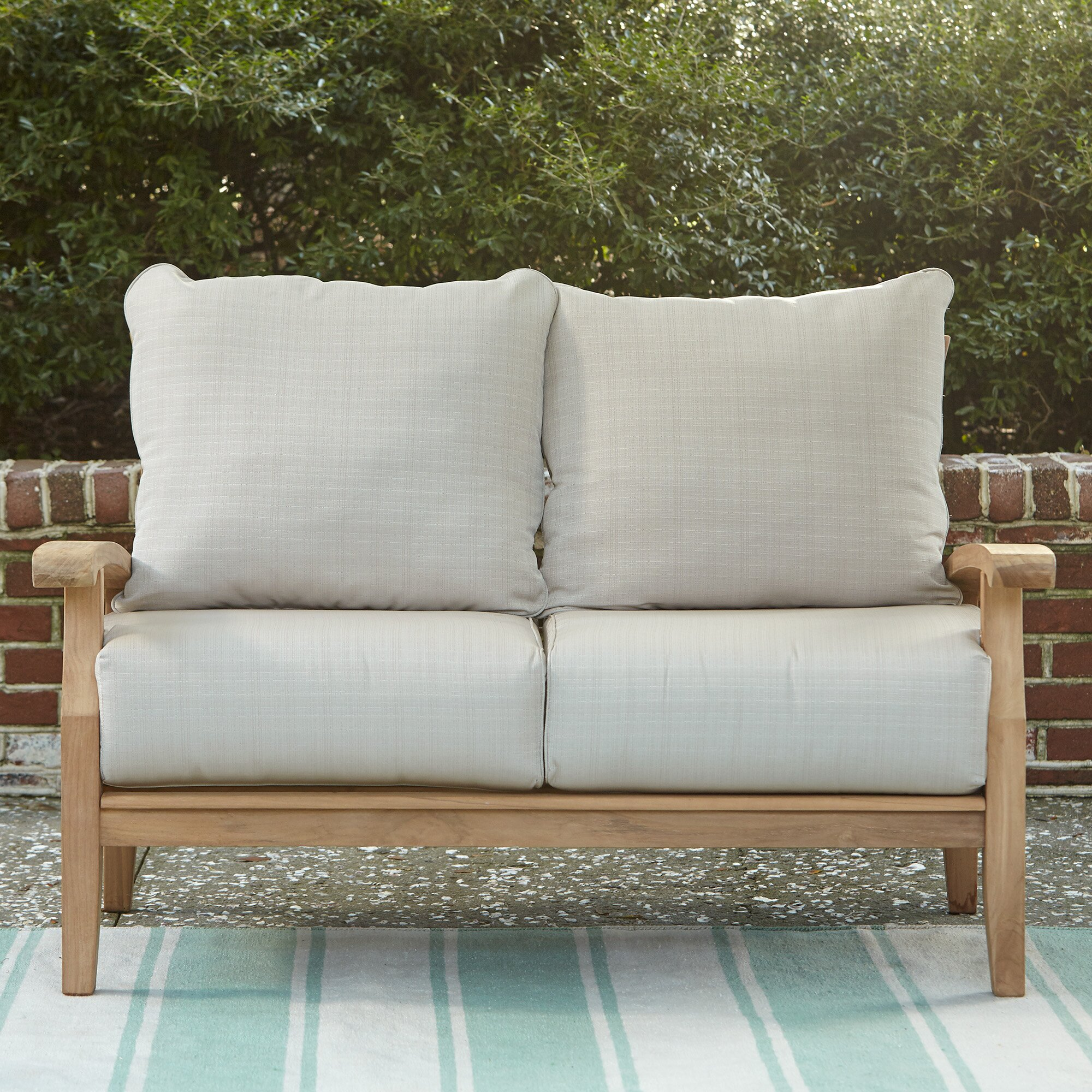 Birch Lane Summerton Teak Loveseat With Cushions Reviews Wayfair