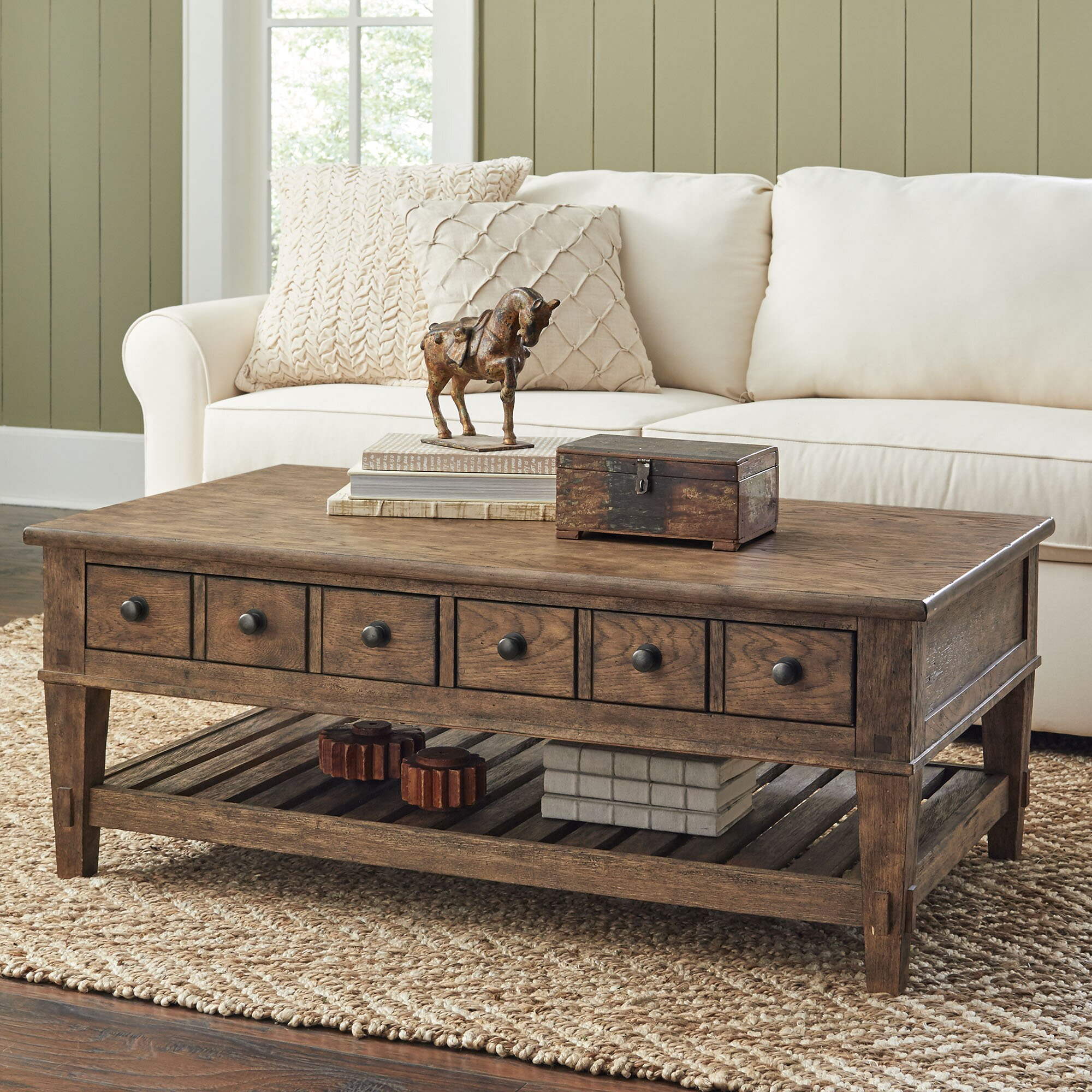 Birch lane derrickson coffee table with drawers reviews for Coffee table sets with drawers