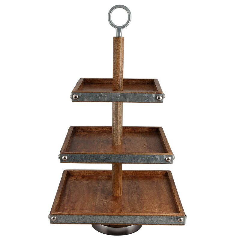 Wooden Tiered Stand ~ Thirstystone luxe tier mango wood and galvanized iron