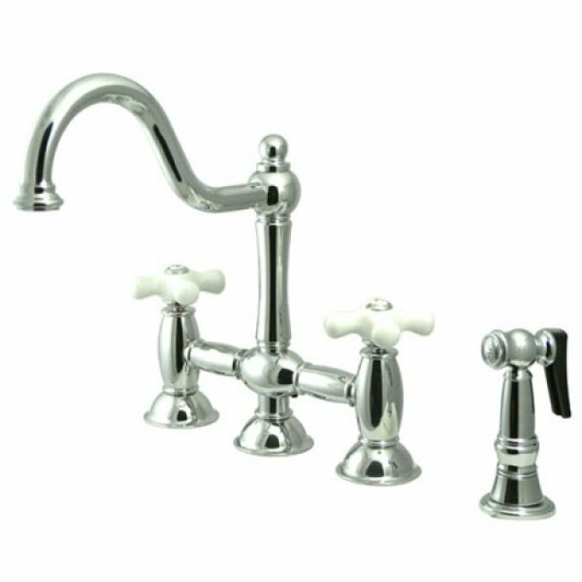 double handle deck mount kitchen faucet with spray reviews wayfair