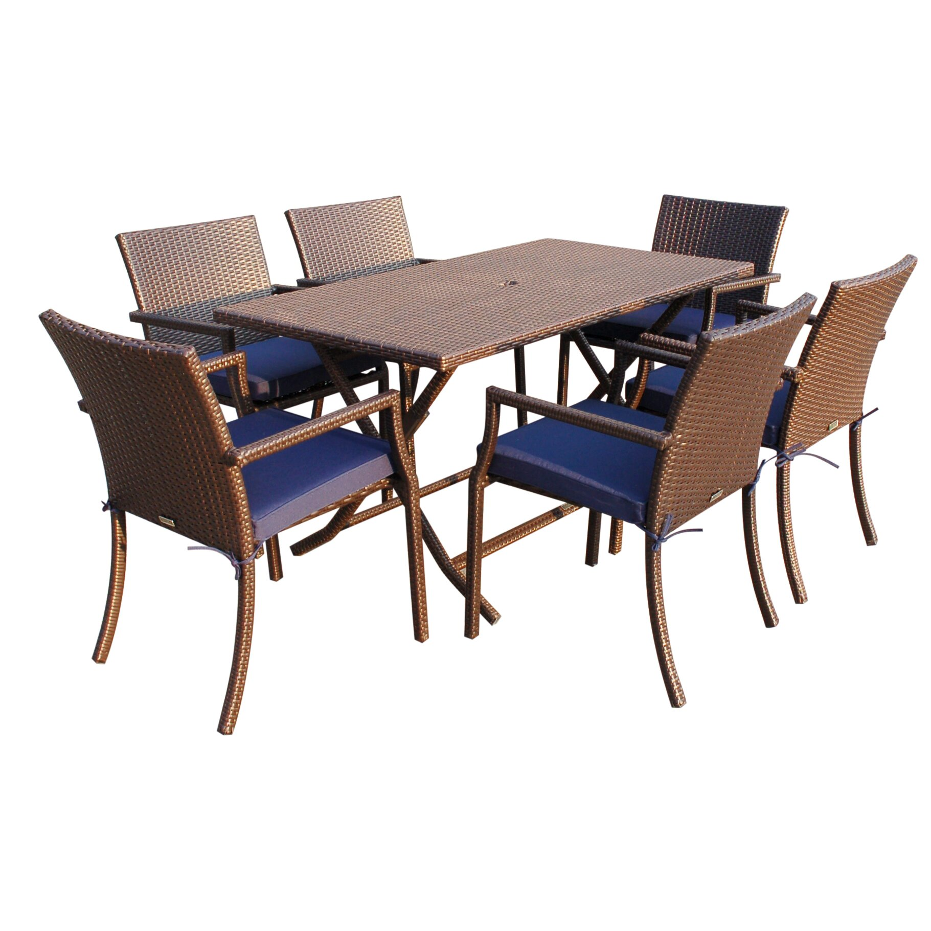 Jeco inc 7 piece dining set with cushions reviews wayfair for Ensemble table buffet