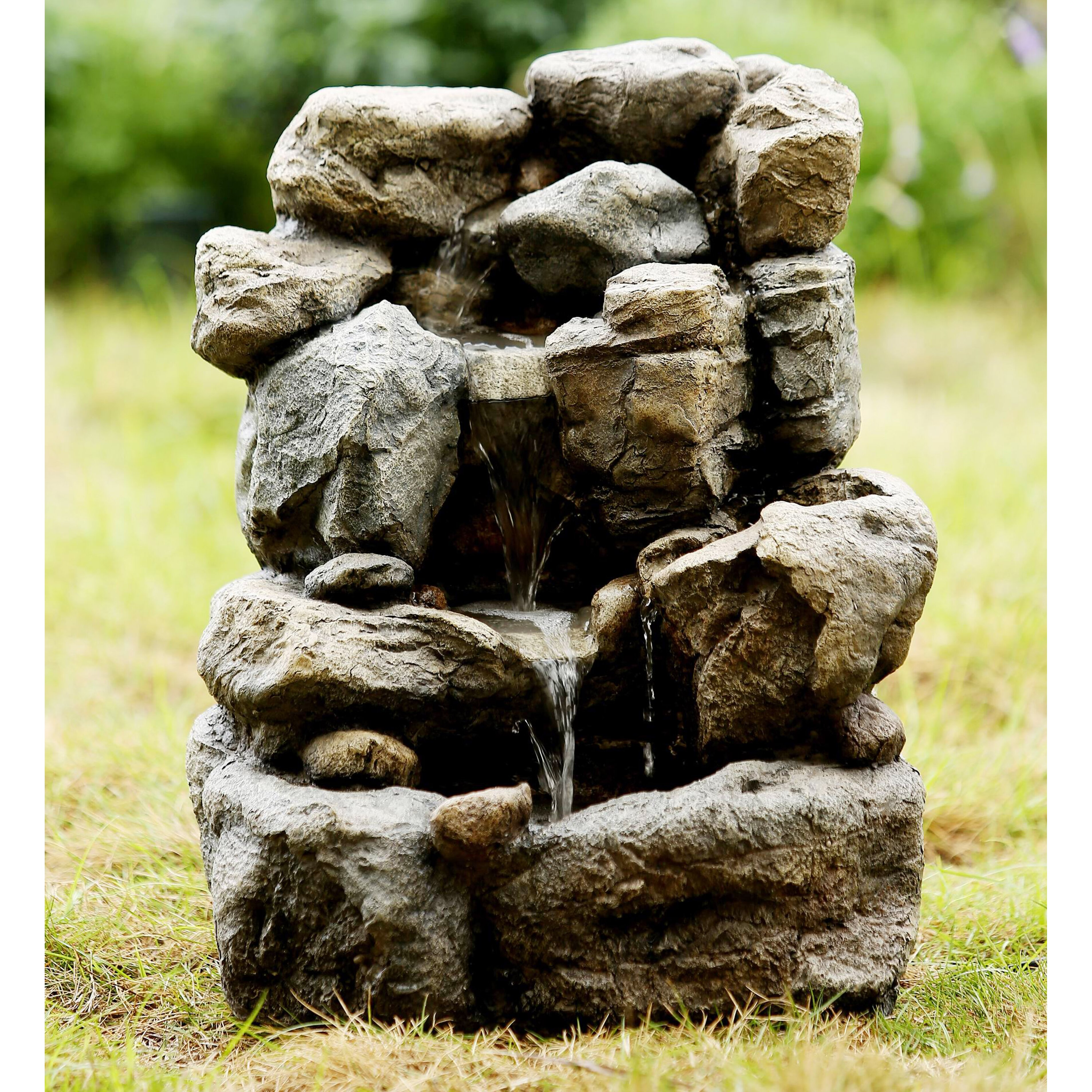 Small Fountain Outdoor: Jeco Inc. Polyresin And Fiberglass Small Rock Water