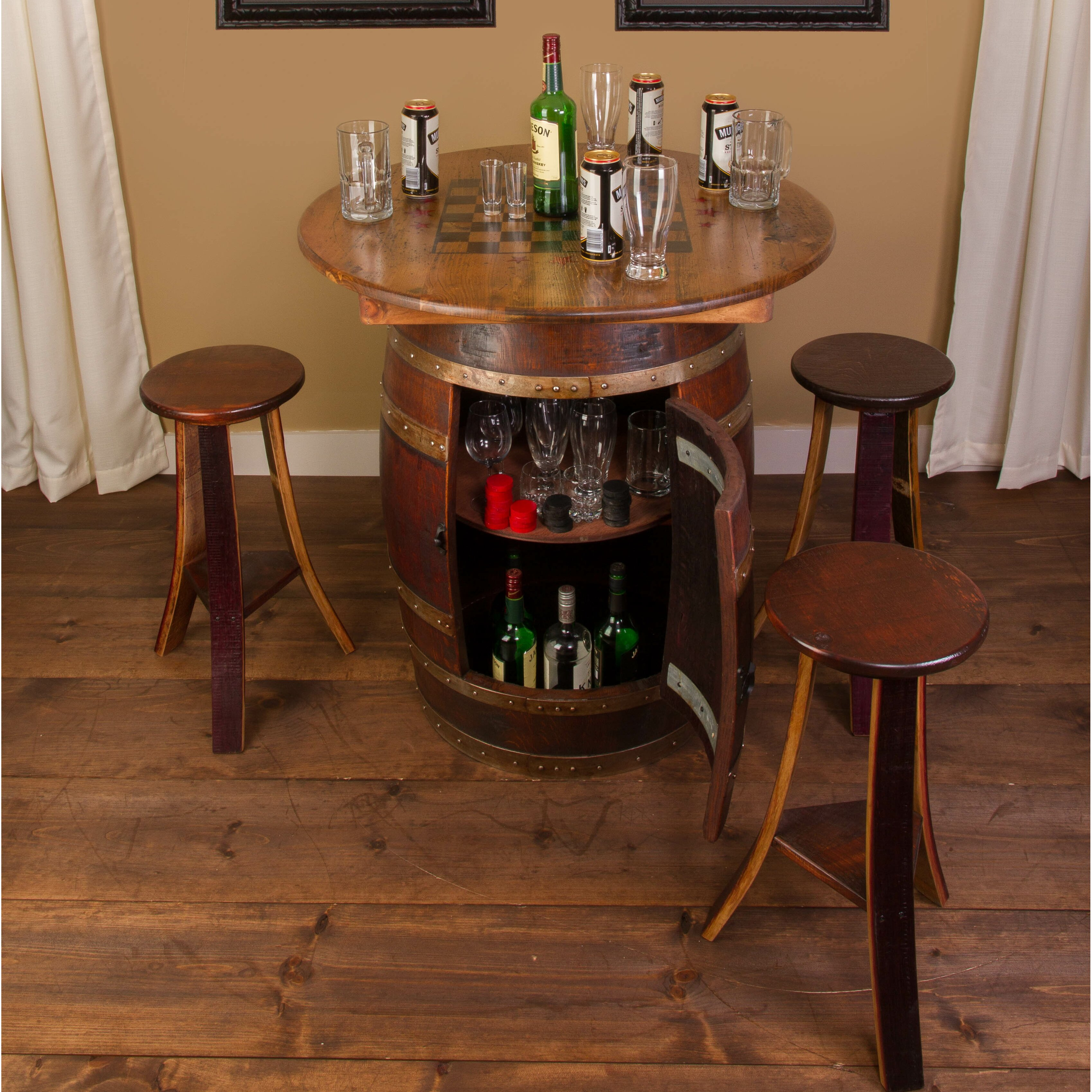 Napa East Collection Whiskey Barrel 5 Piece Pub Table Set