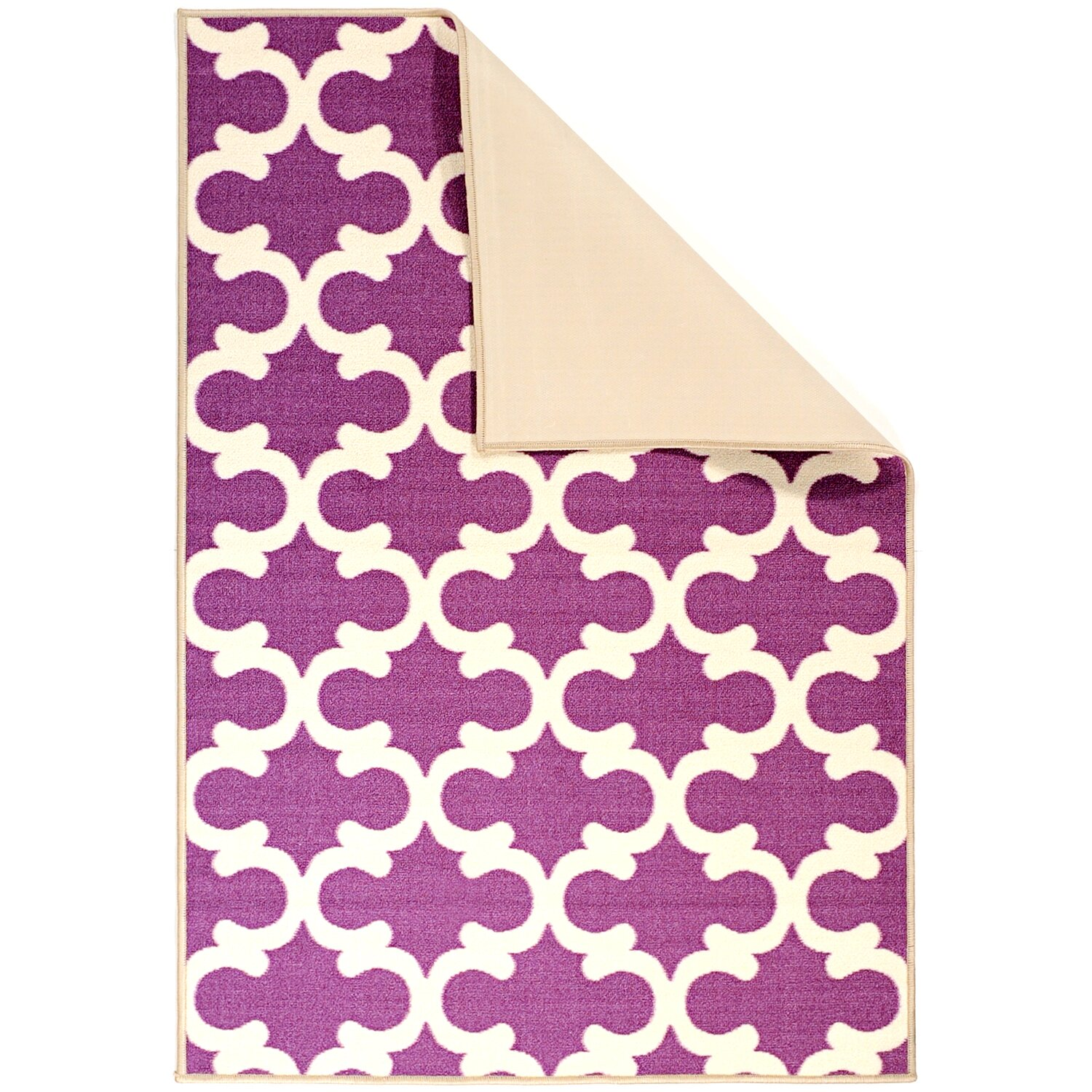 Ottomanson Pink Contemporary Purple Moroccan Trellis Area