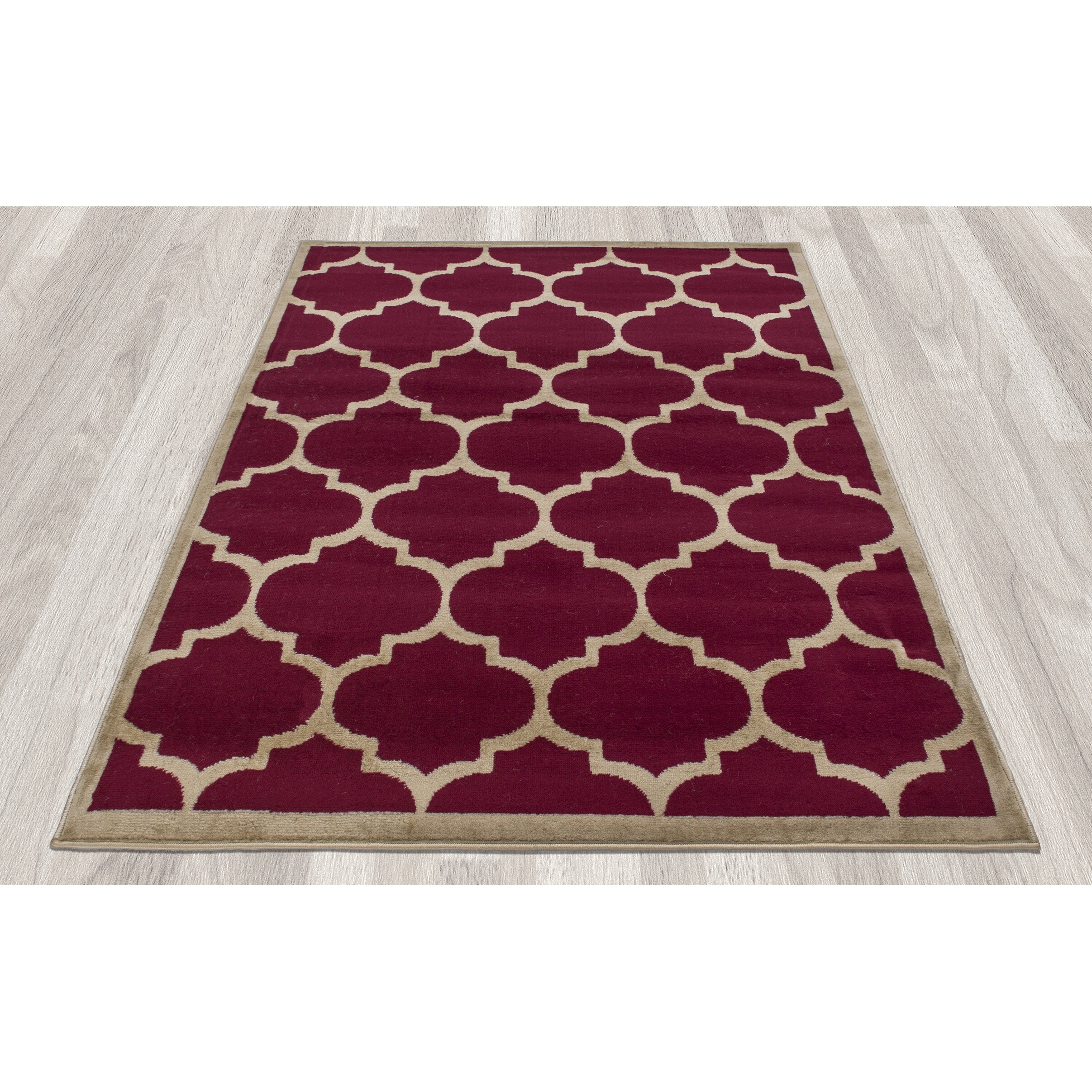 Ottomanson paterson contemporary moroccan trellis design for Red area rugs contemporary