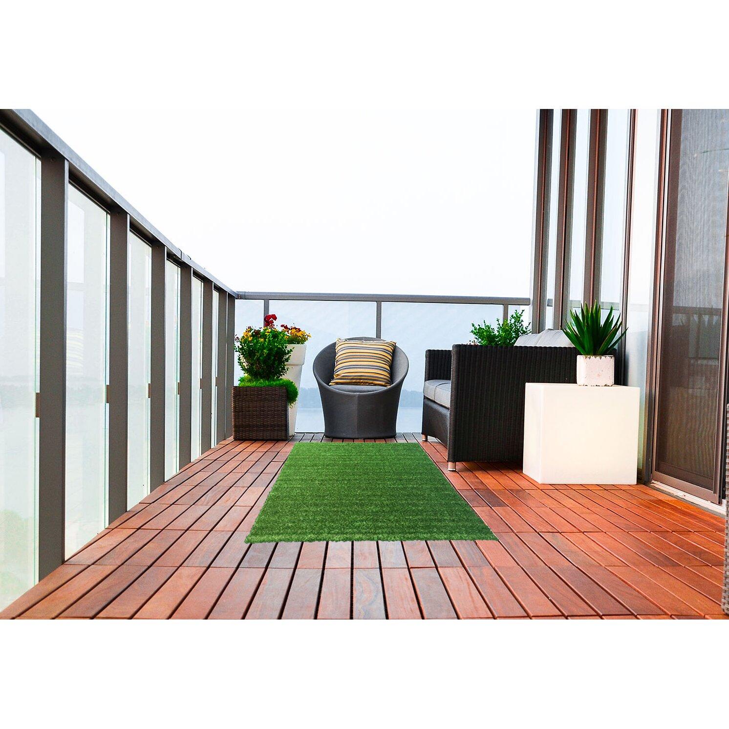 Throw Rugs Secure: Ottomanson Garden Grass Green Indoor/Outdoor Area Rug