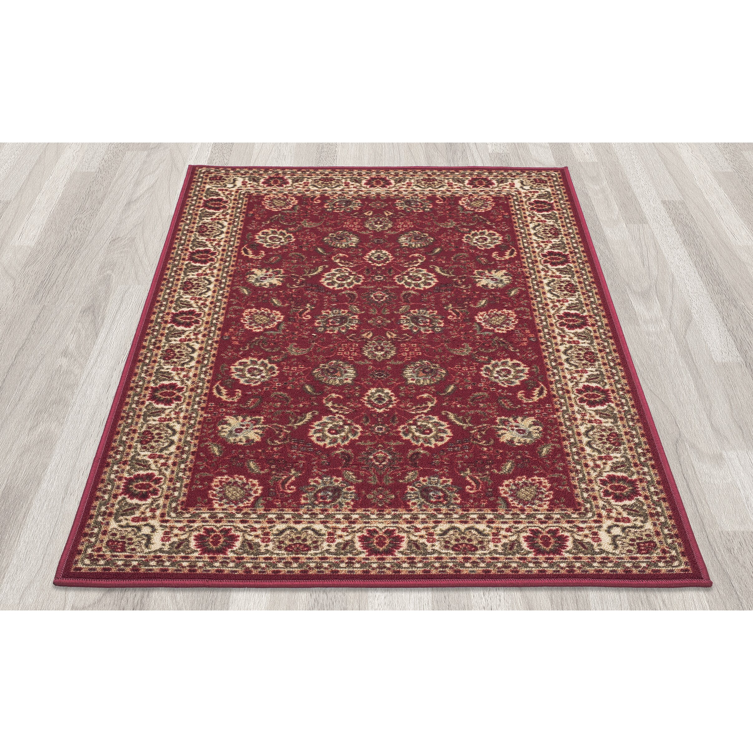 Ottomanson Ottohome Dark Red Floral Area Rug & Reviews