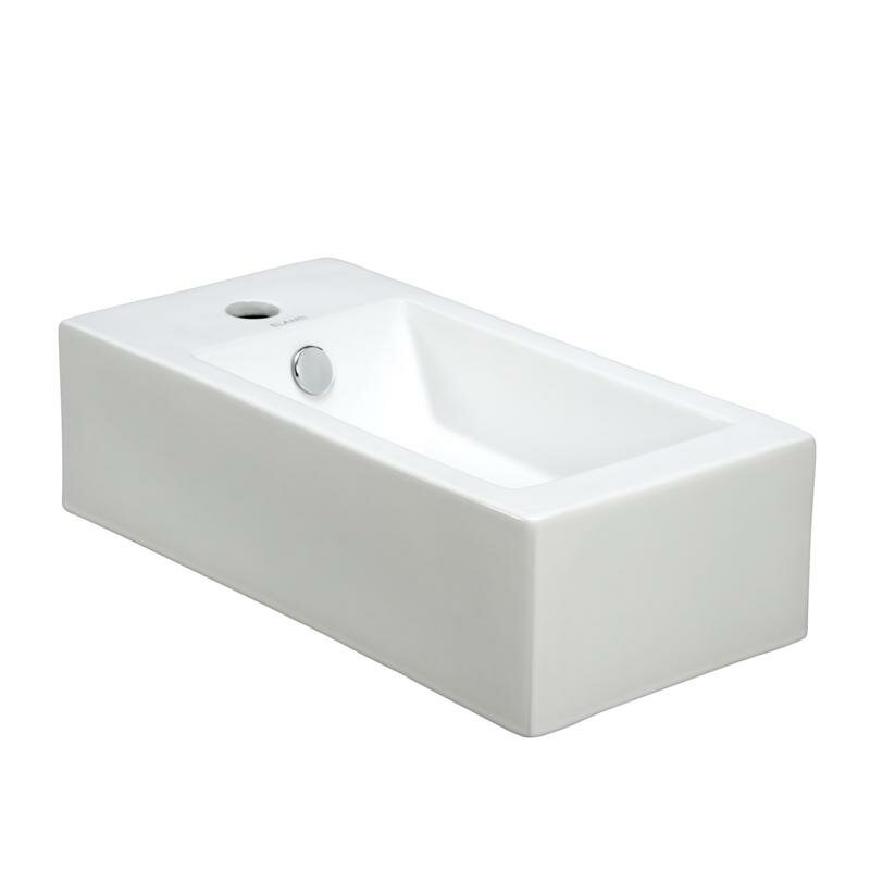 Elanti Porcelain Rectangle Wall Mounted Right Facing Sink & Reviews ...