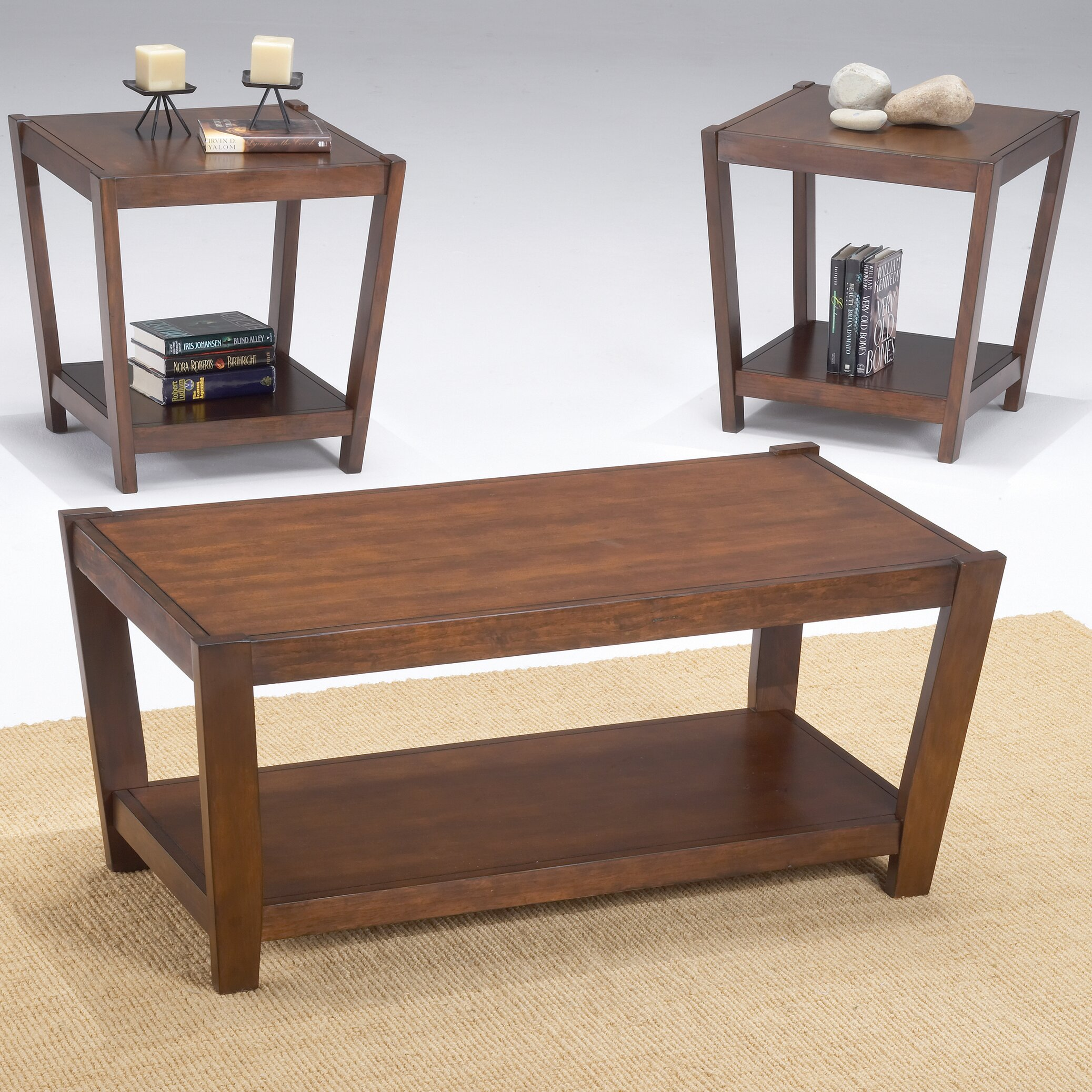 Bernards Sabre 3 Piece Coffee Table Set Reviews Wayfair
