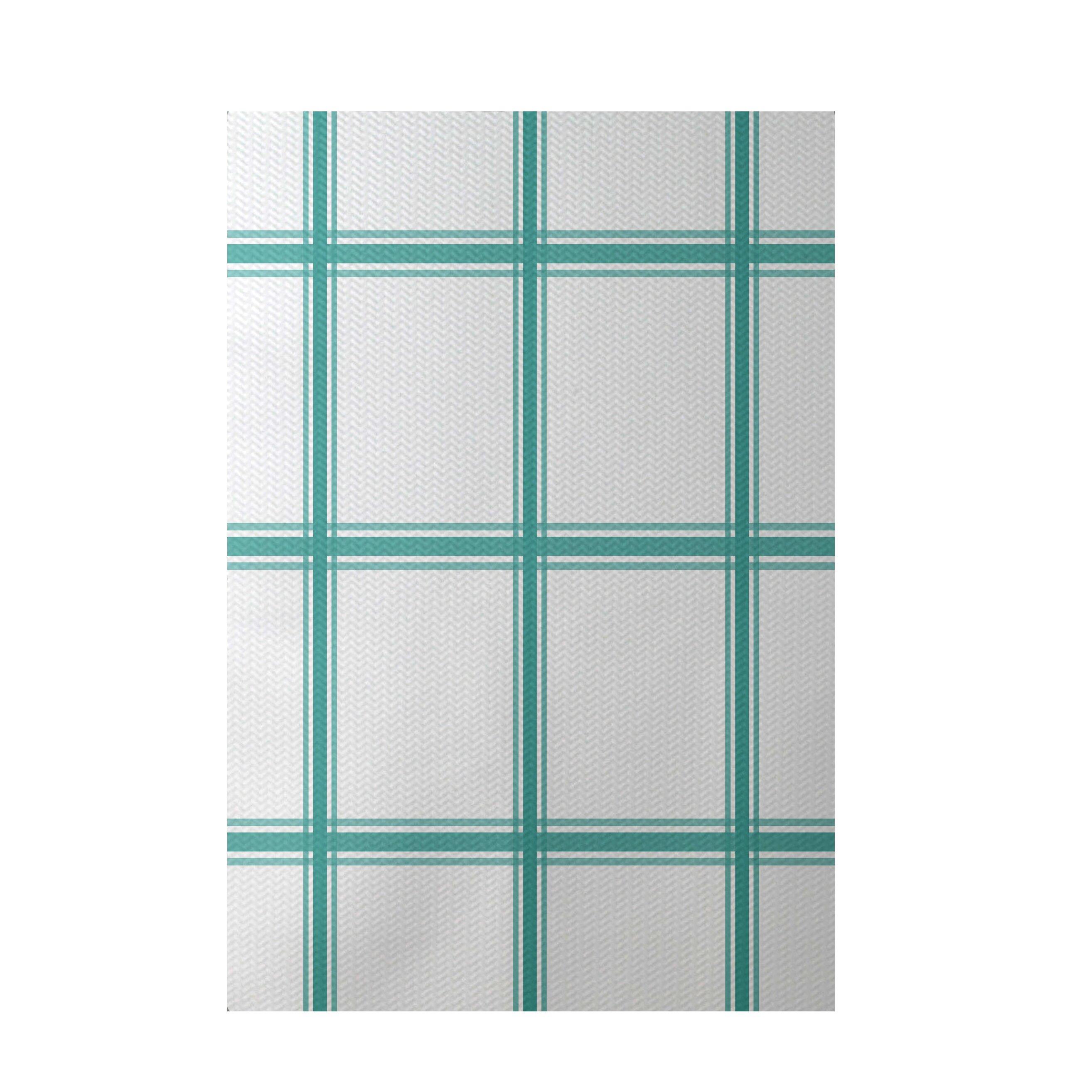 E By Design Geometric Aqua Indoor/Outdoor Area Rug