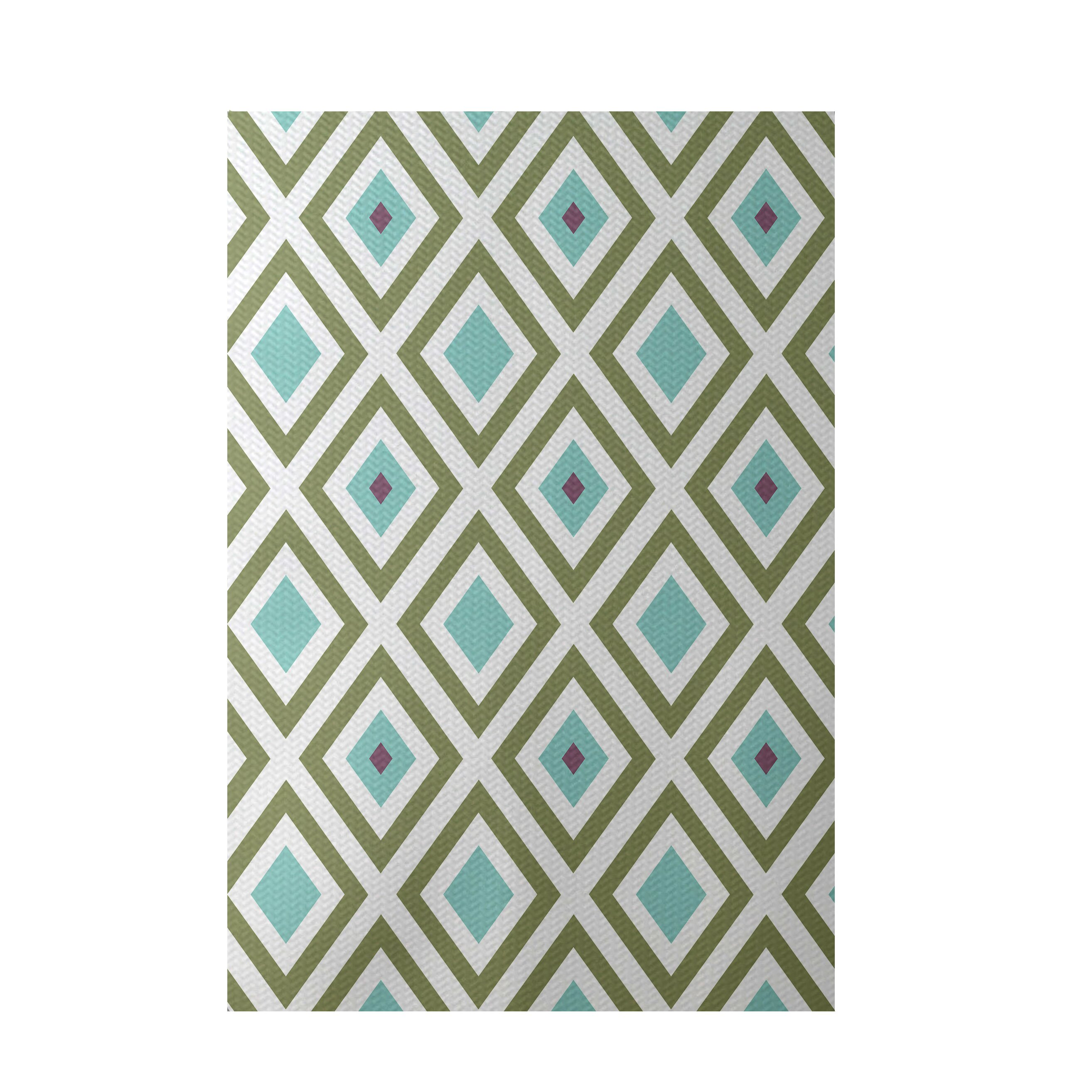 E by design geometric aqua indoor outdoor area rug for Geometric pattern area rugs