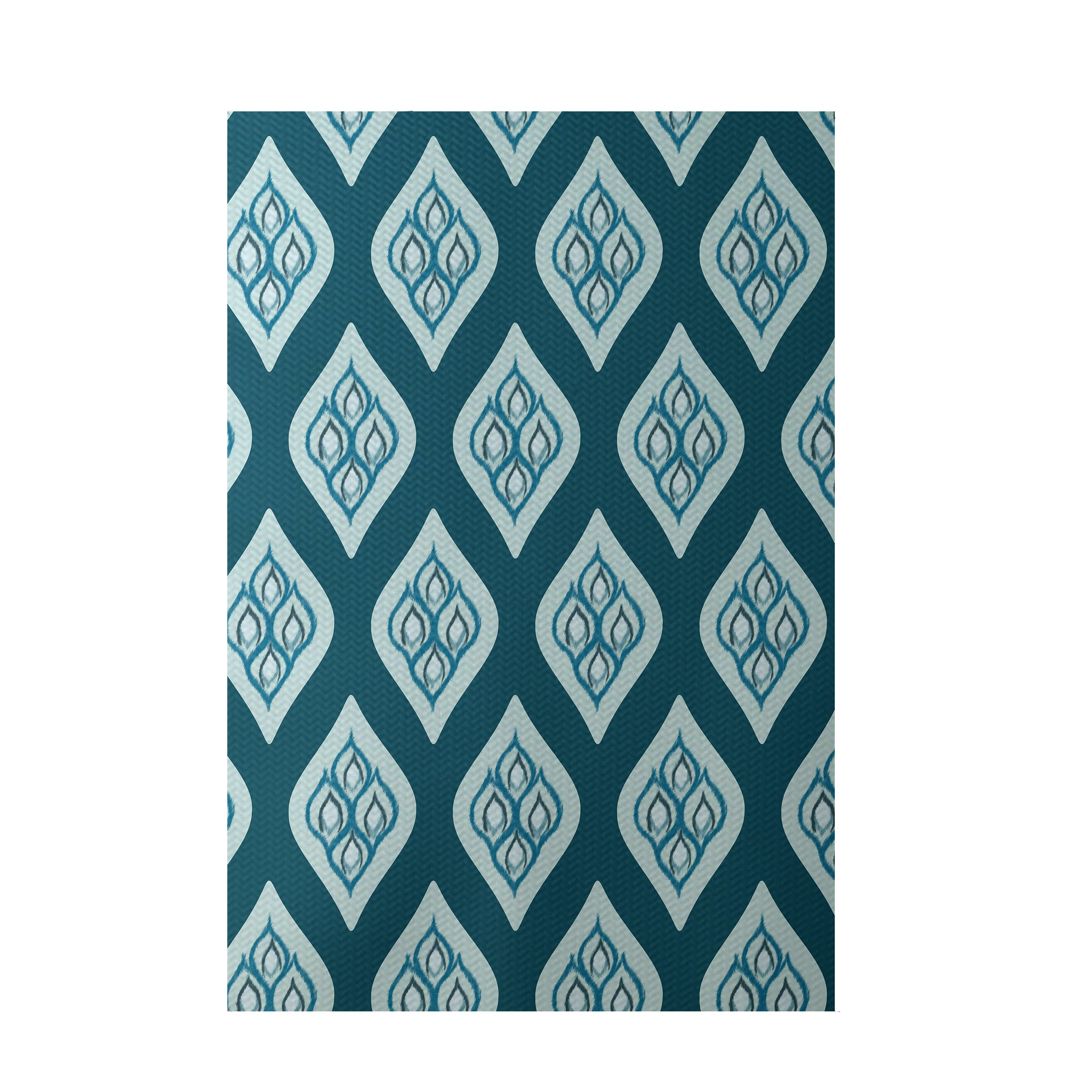 Teal Floral Area Rug: E By Design Floral Teal Indoor/Outdoor Area Rug & Reviews