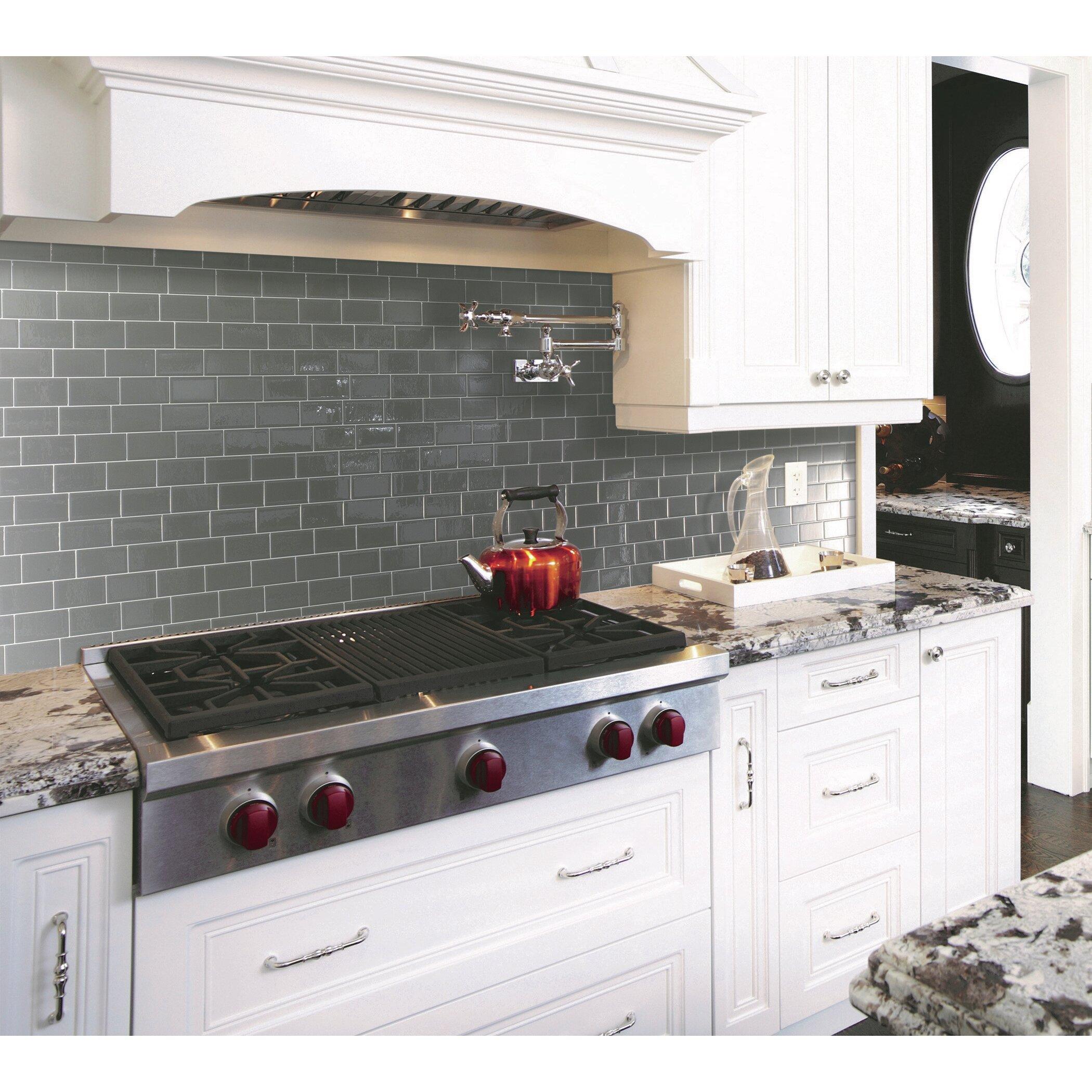 Smart tiles mosaik metro grigio x peel for Plaque decorative credence