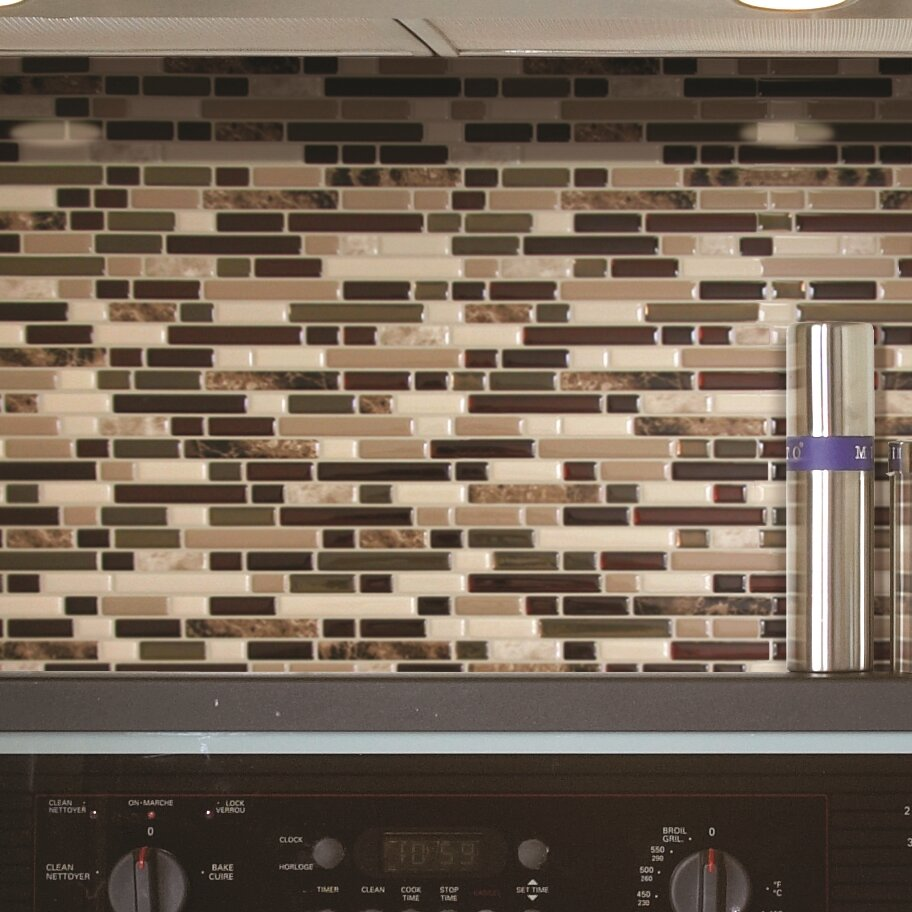smart tiles mosaik bellagio keystone x 10 peel stick wall tile in beige brown. Black Bedroom Furniture Sets. Home Design Ideas