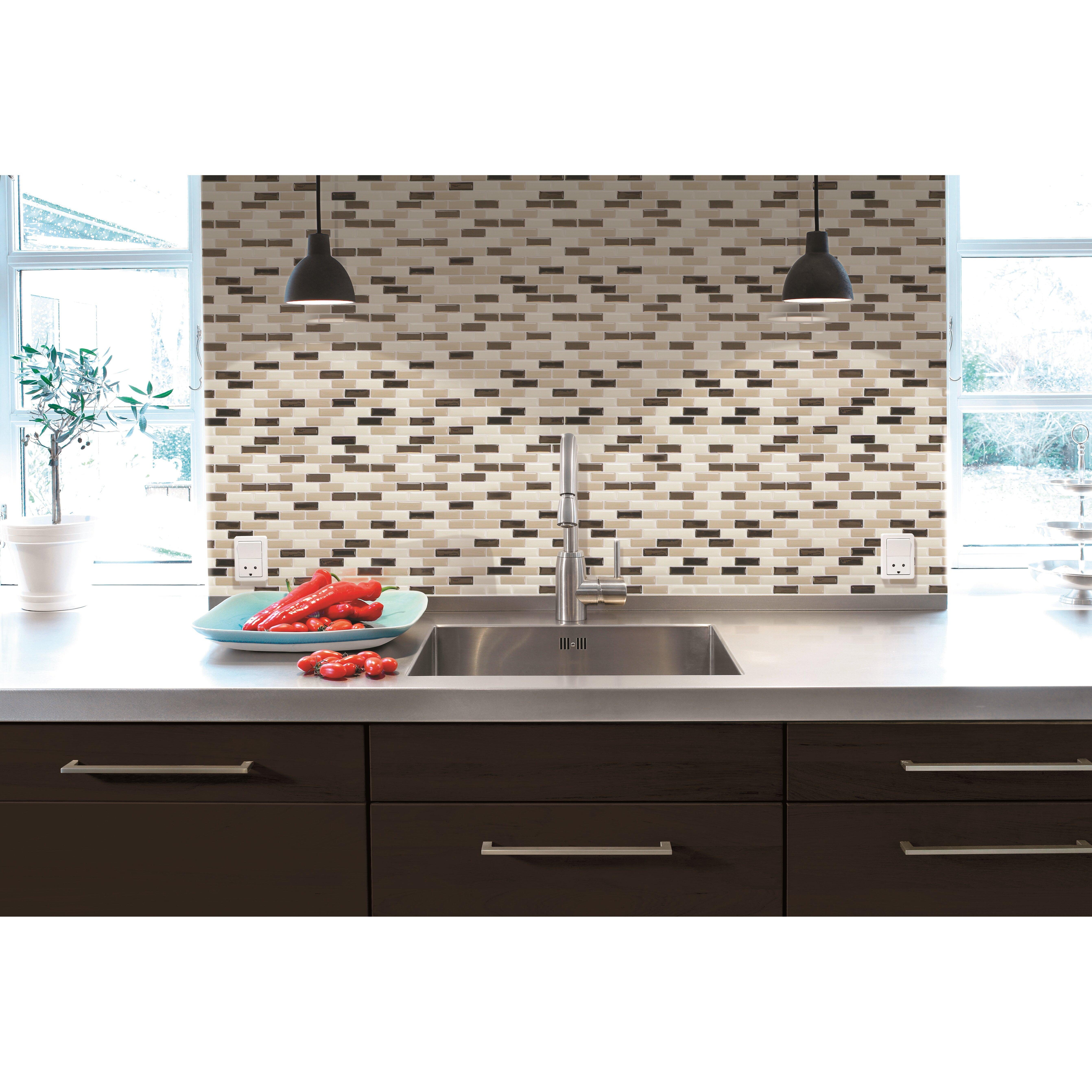 smart tiles mosaik murano dune x peel stick mosaic tile in bronze ivory beige. Black Bedroom Furniture Sets. Home Design Ideas
