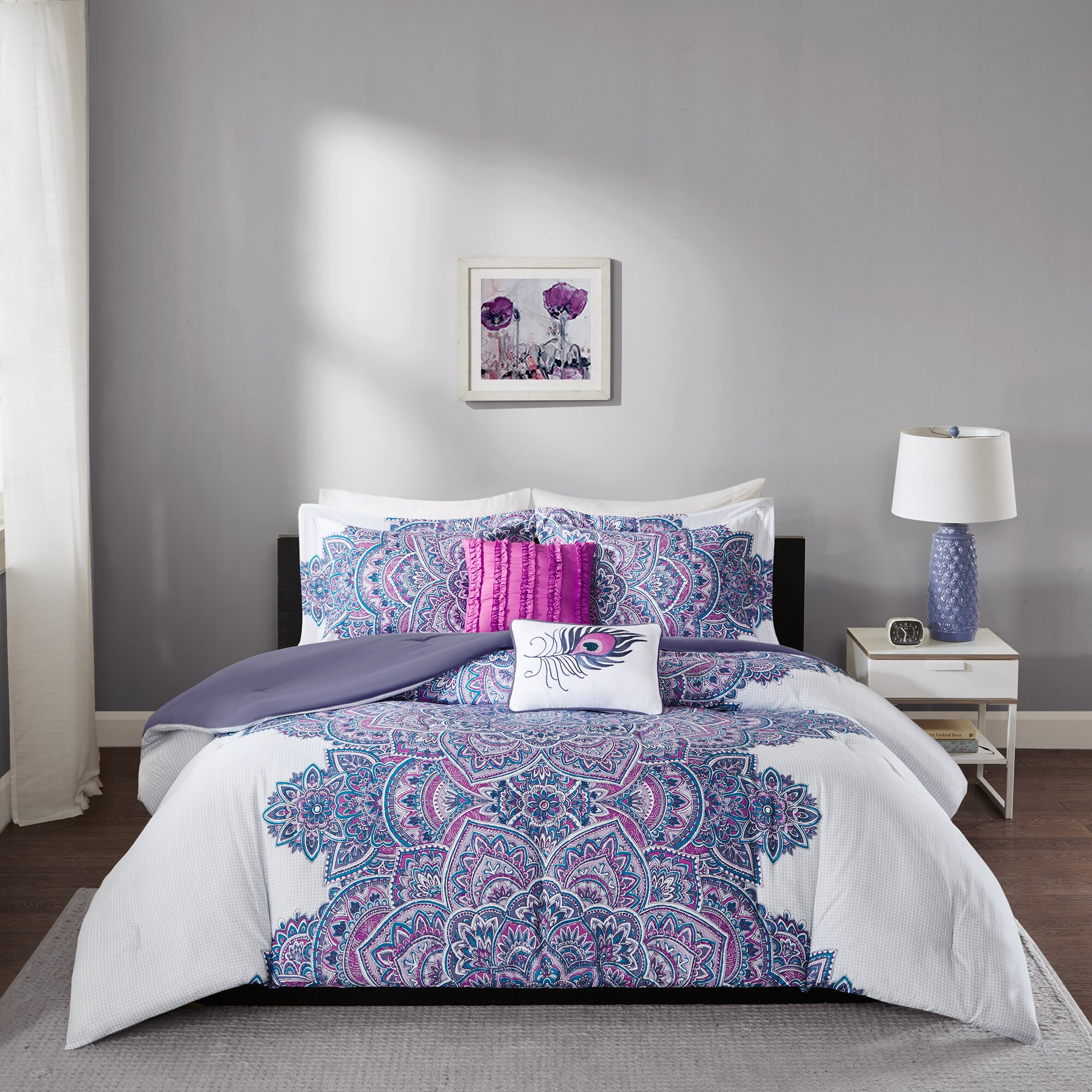 Intelligent design mila comforter set reviews wayfair for Matching bedroom and bathroom sets