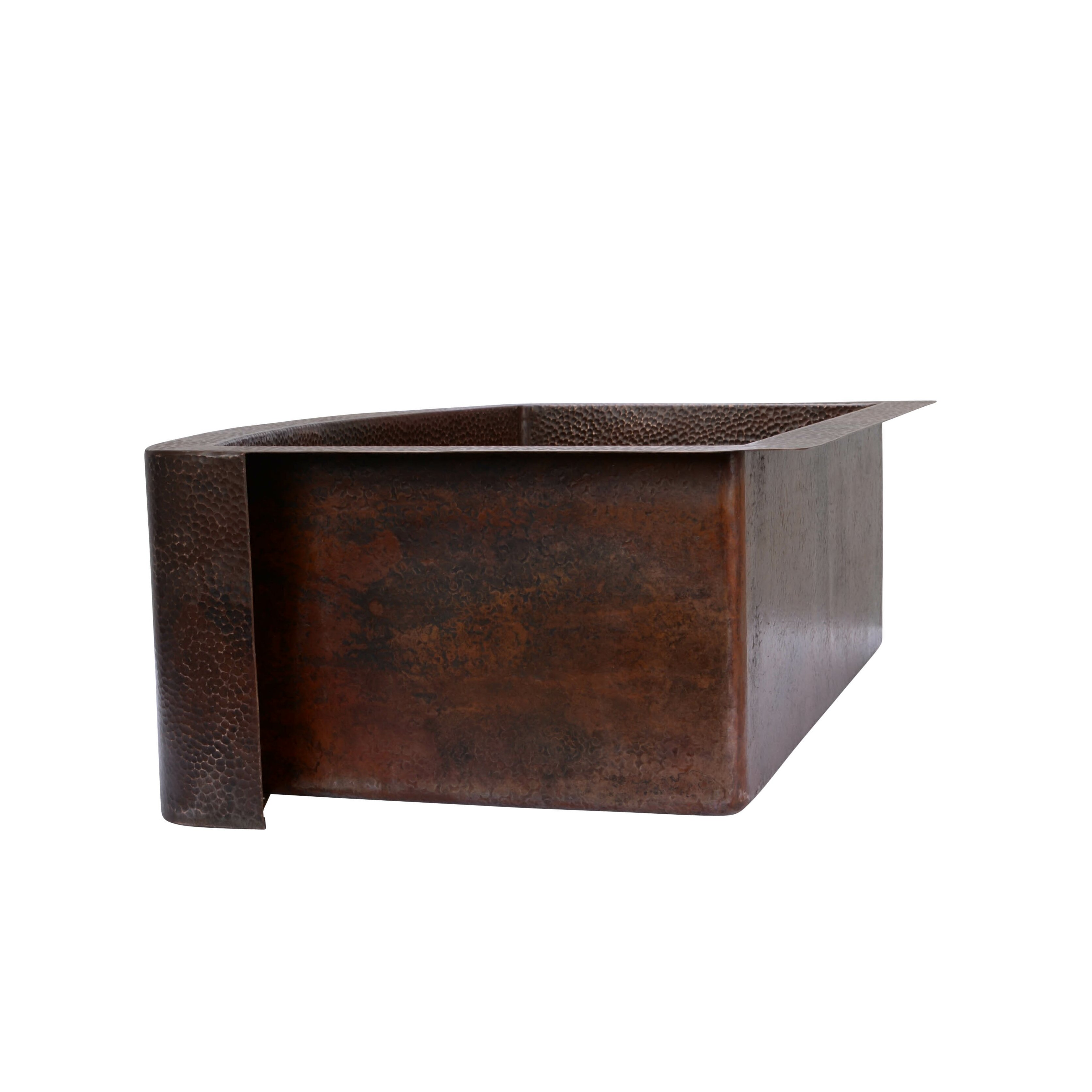 """Hahn 33"""" x 22"""" Copper Curved Front Single Bowl Farmhouse Kitchen Si"""