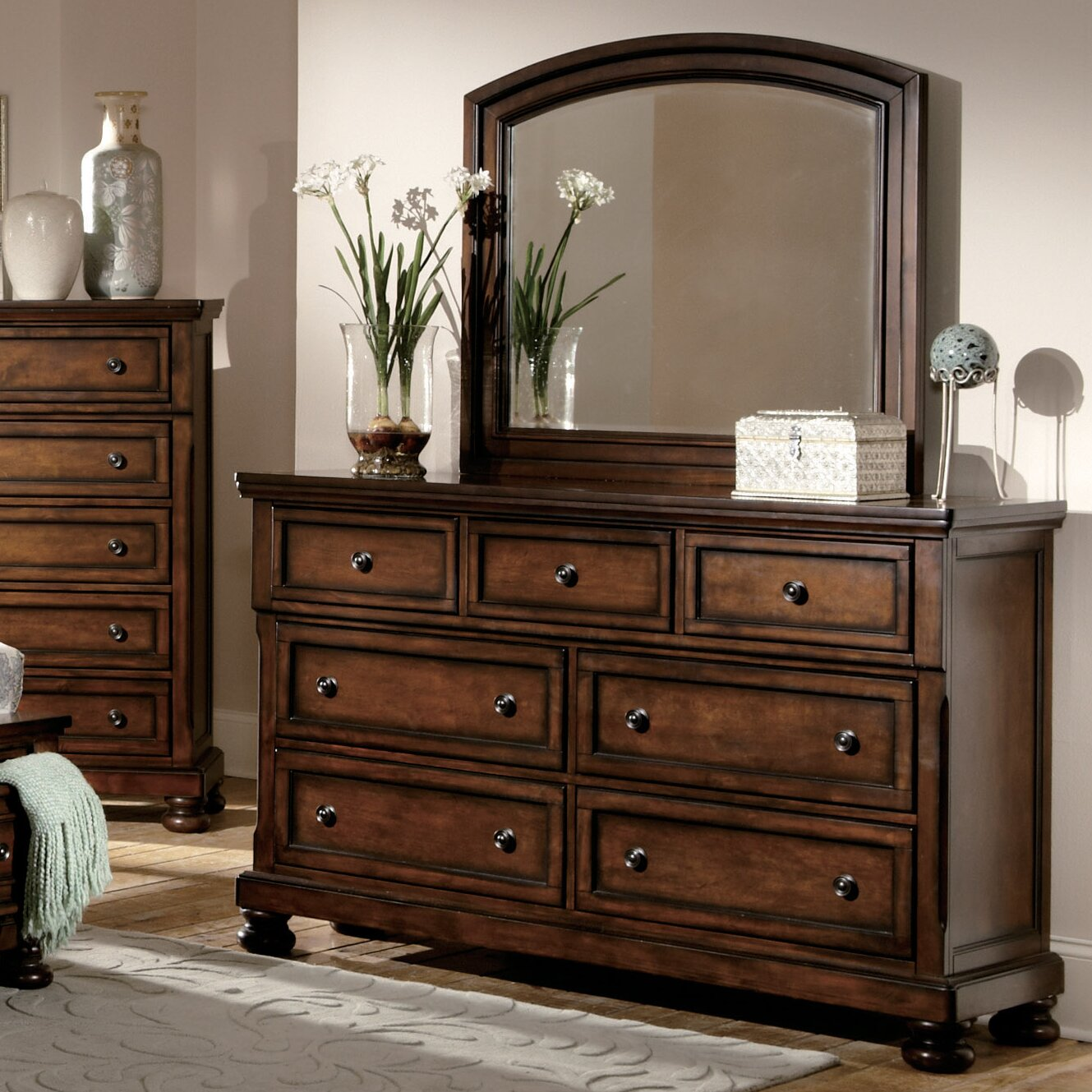 Woodhaven Hill Cumberland 7 Drawer Dresser With Mirror Reviews Wayfair