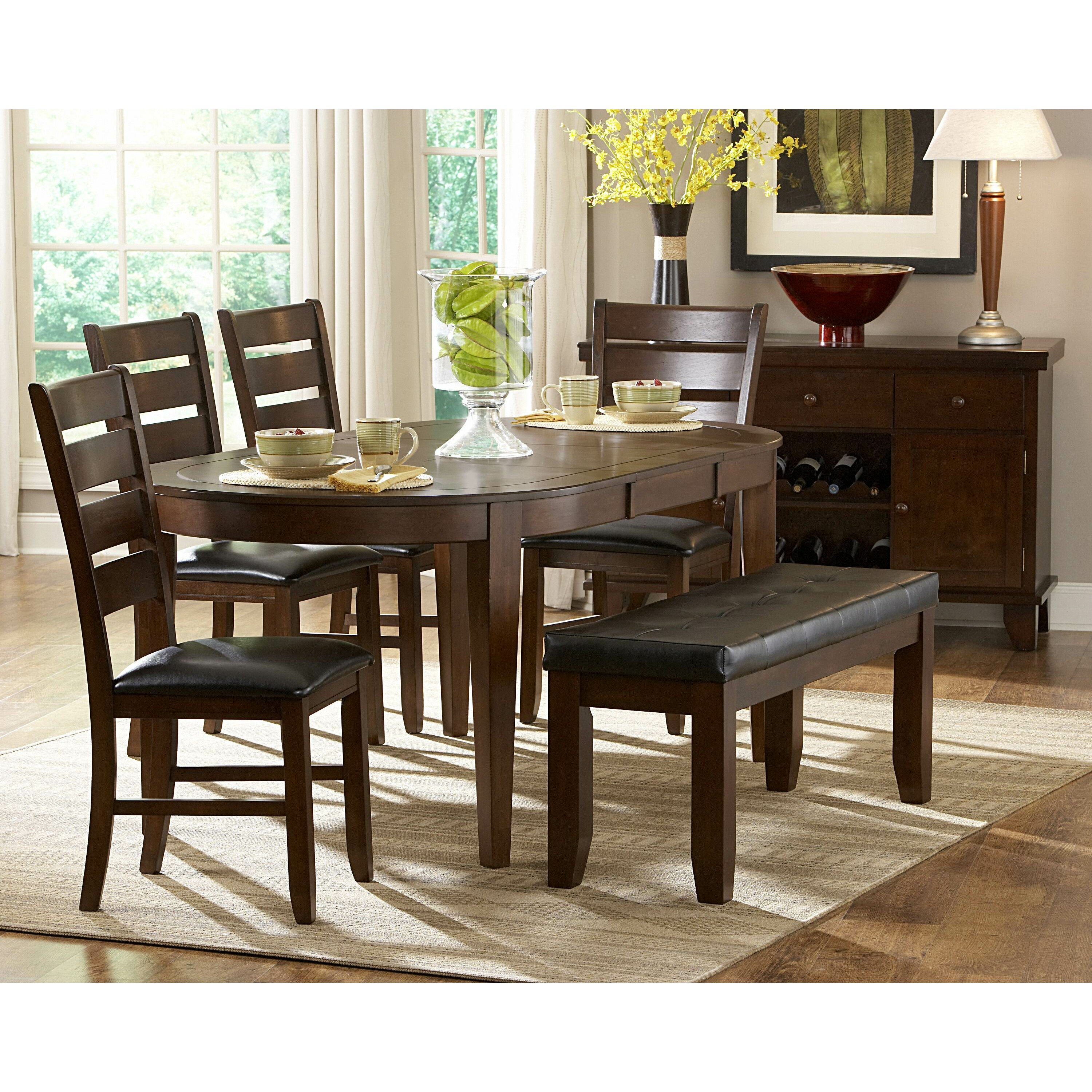 Contemporary 6 Piece Dining Room Table Set With Bench By: Woodhaven Hill Ameillia 6 Piece Dining Set & Reviews