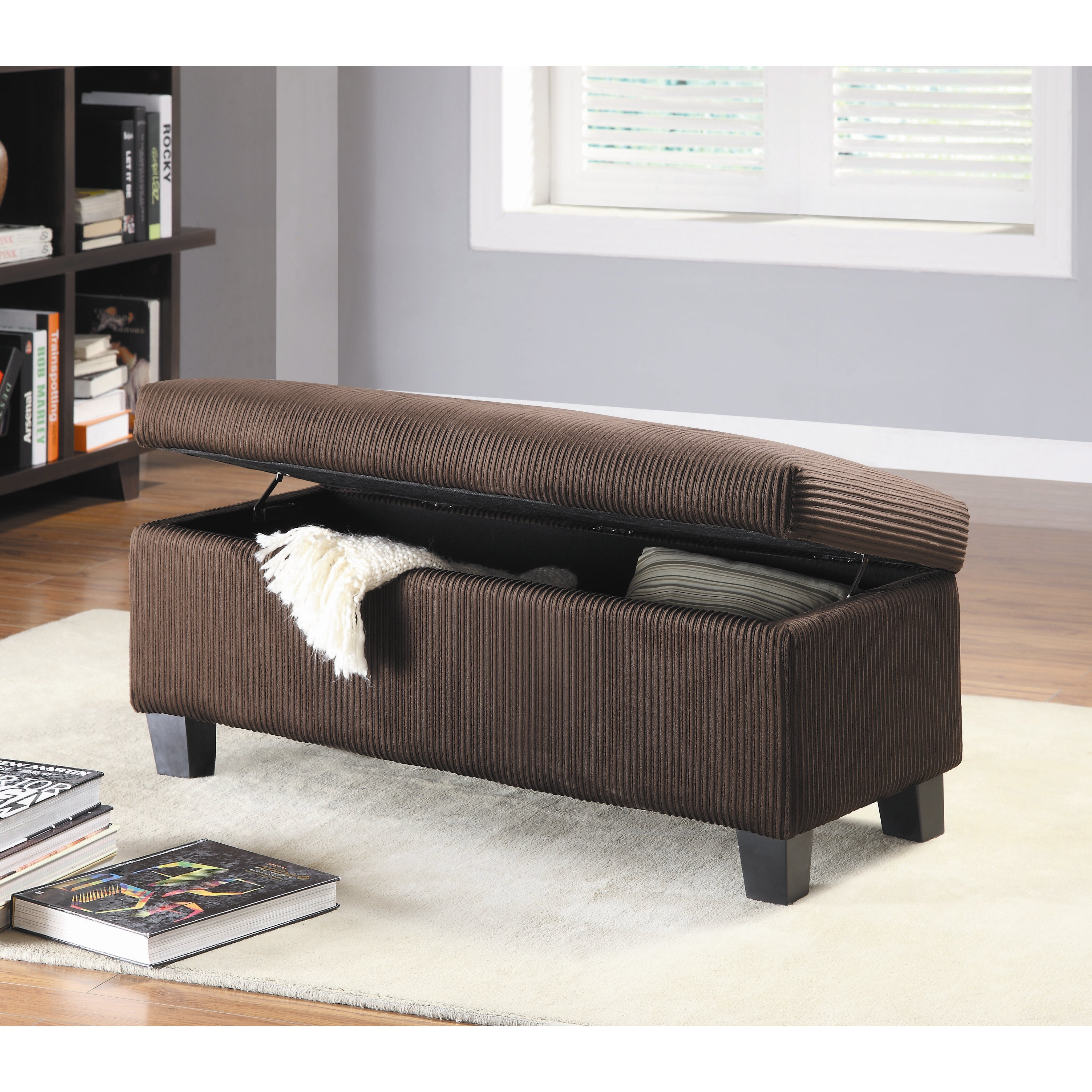 woodhaven hill clair new fabric bedroom storage ottoman