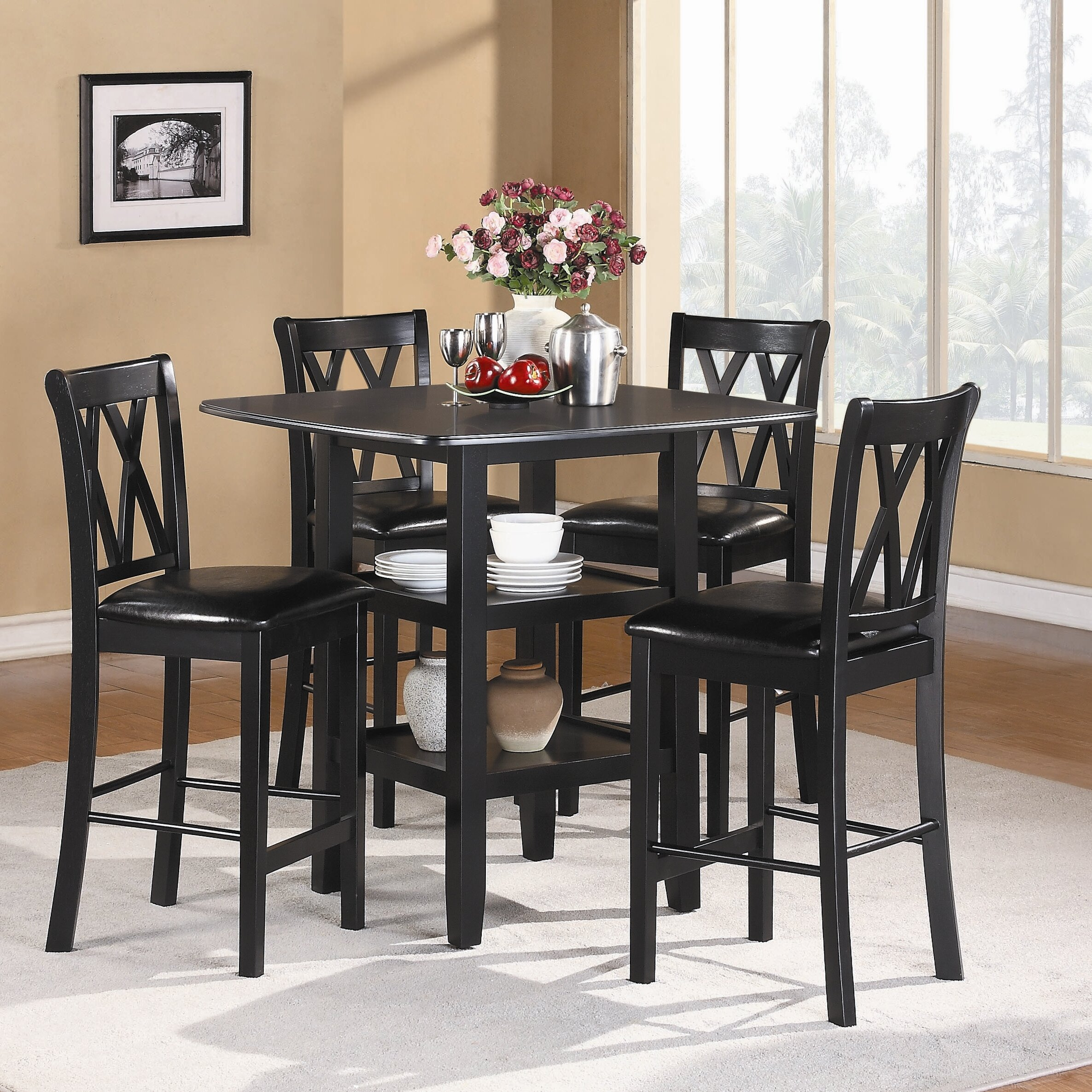 Woodhaven hill norman 5 piece counter height dining set for High top dinette sets