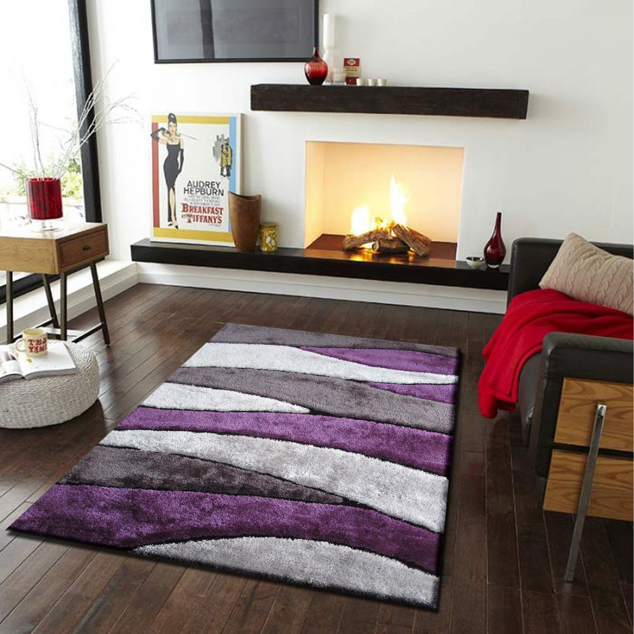 Rug Factory Plus Living Shag Purple Gray Rug Amp Reviews